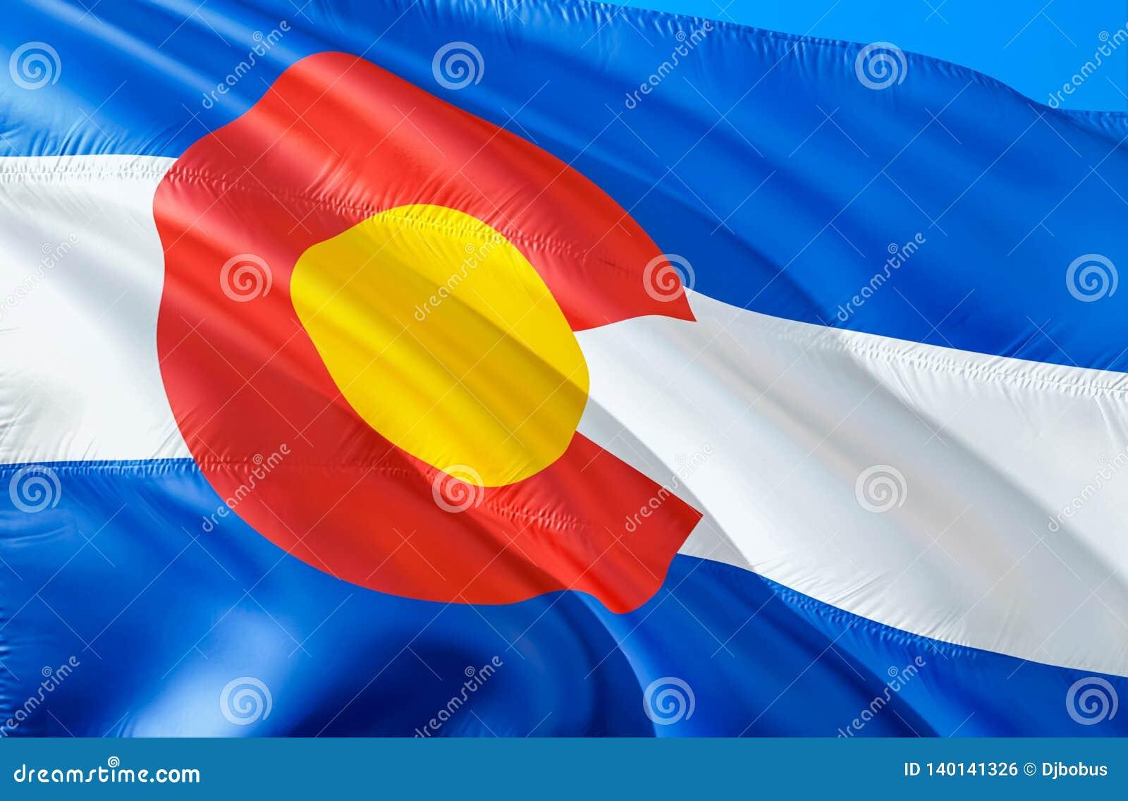 Colorado-Flagge 3D, das USA-Staatsflaggenentwurf wellenartig bewegt Das nationale US-Symbol von Colorado-Staat, Wiedergabe 3D Nat