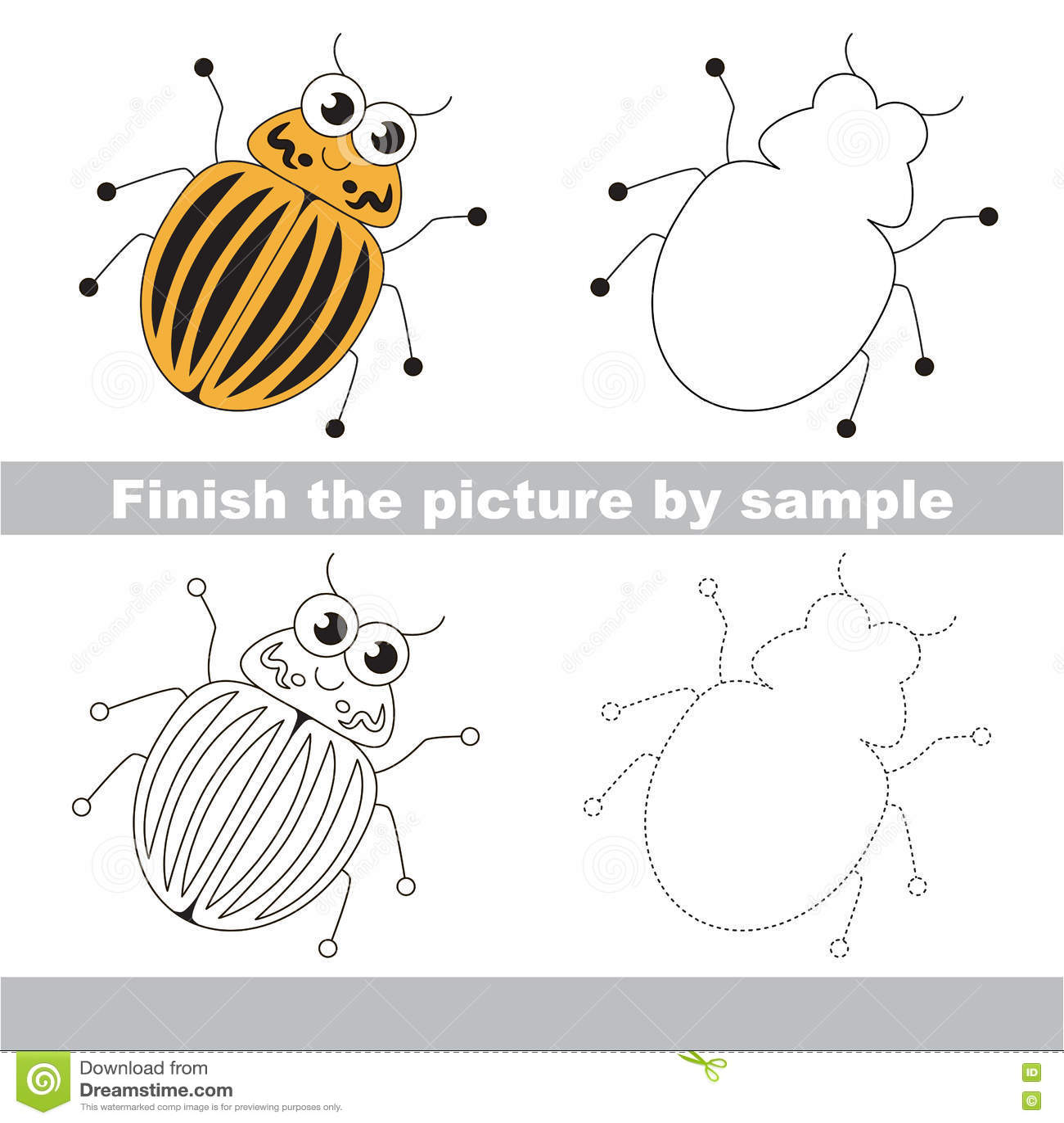 Colorado Potato Beetle Drawing Worksheet Vector Image – Child Support Worksheet Colorado