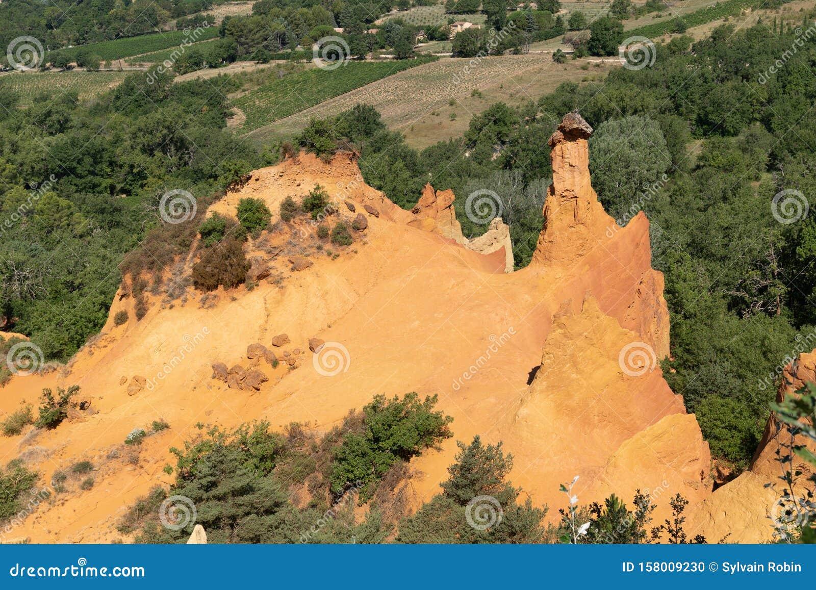 Colorado Provencal In Provence France Red Rocks Landscape In Roussillon Rustrel Village Stock Photo Image Of Erosion Luberon 158009230
