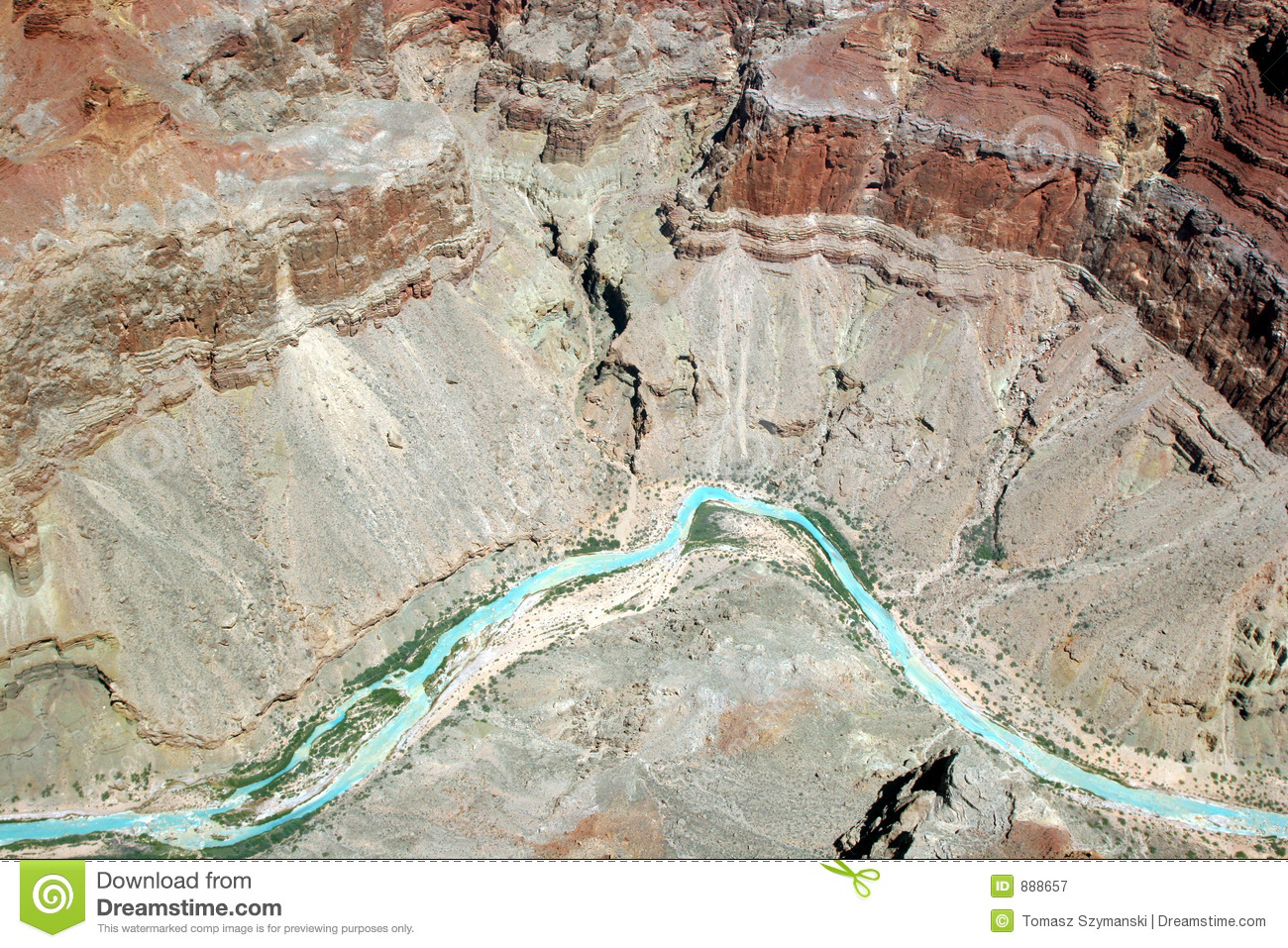 Colorado River in Grand Canyon National Park – view from an airplane ...