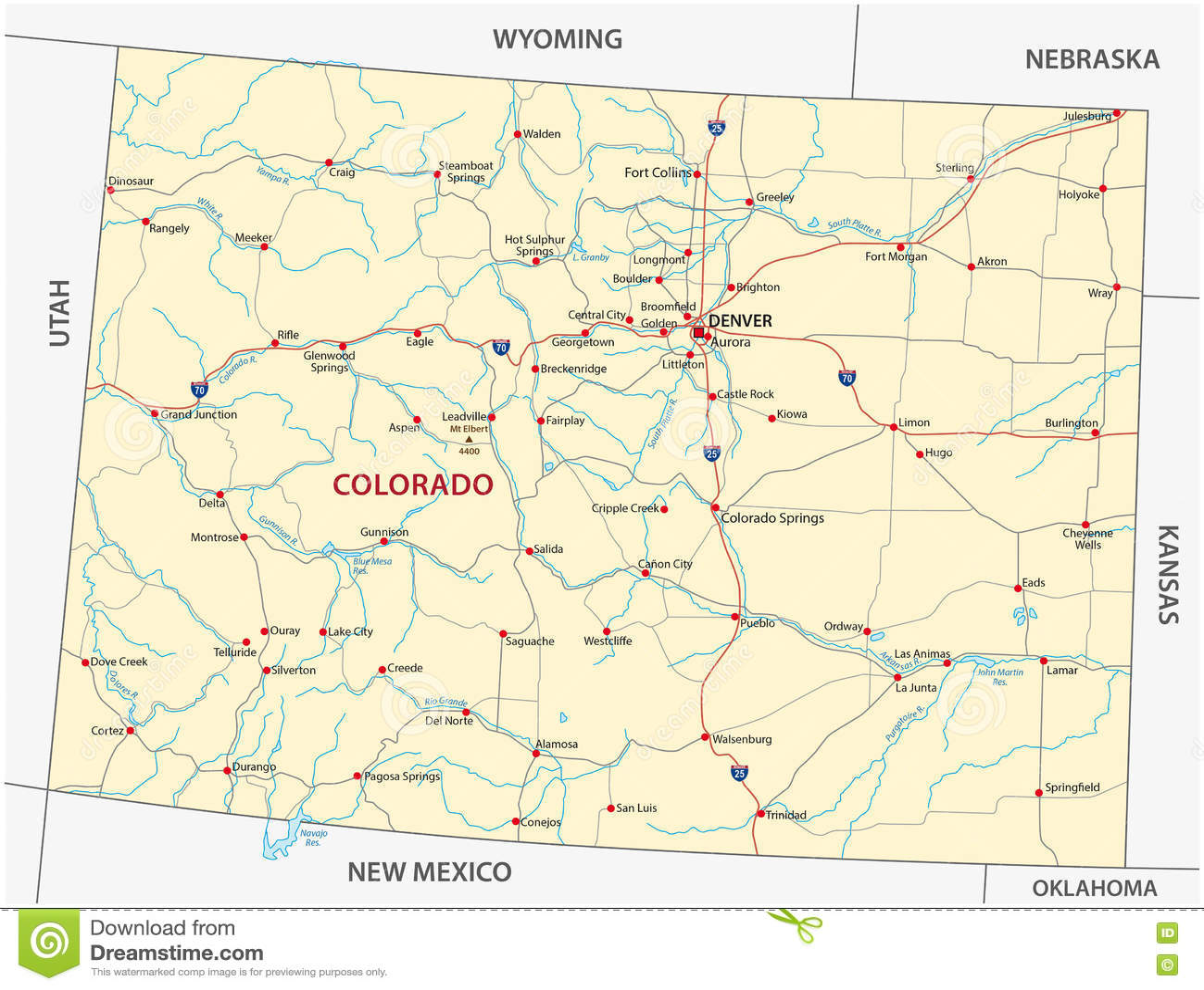 Colorado road map stock vector. Illustration of mexico - 78095663
