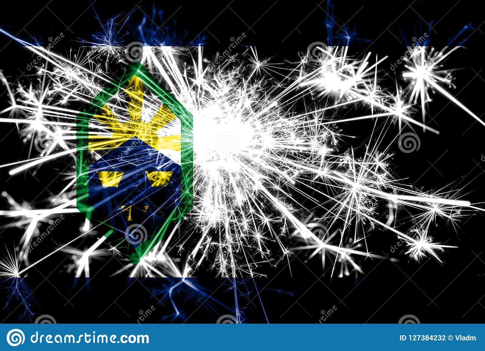 Colorado Springs, Colorado fireworks sparkling flag. New Year 2019 and Christmas party concept.