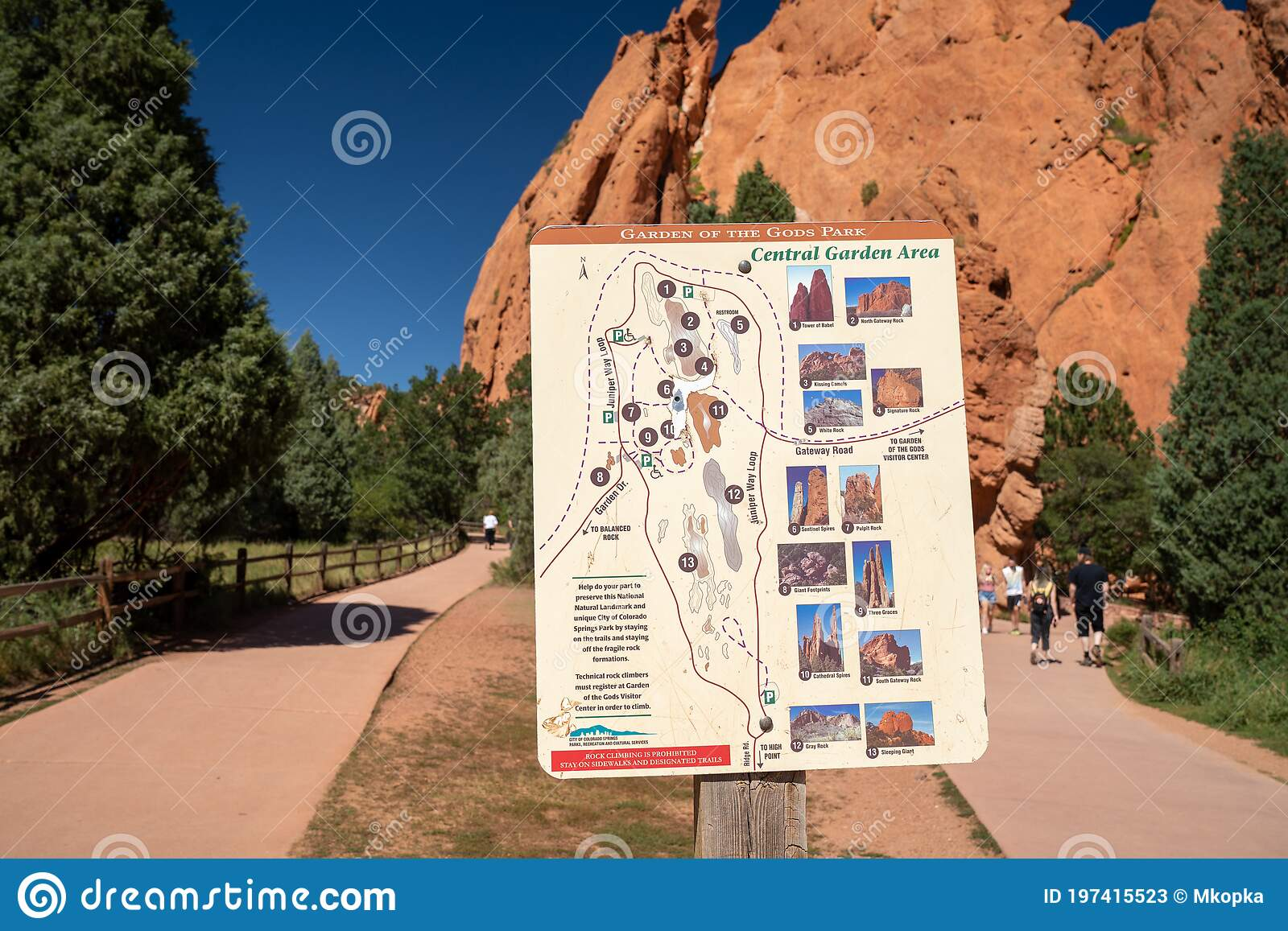 Colorado Springs Colorado September 14 2020 Hiking Trail Map Of Garden Of The Gods Park Of The Central Garden Area Editorial Stock Photo Image Of Geology 2020 197415523