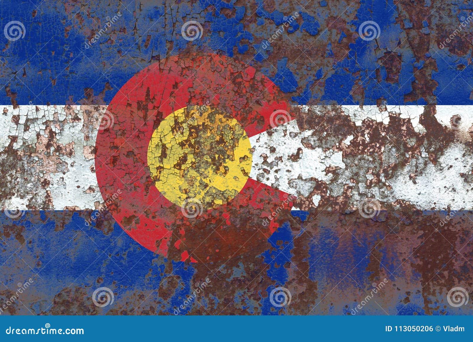 Colorado state grunge flag, United States of America