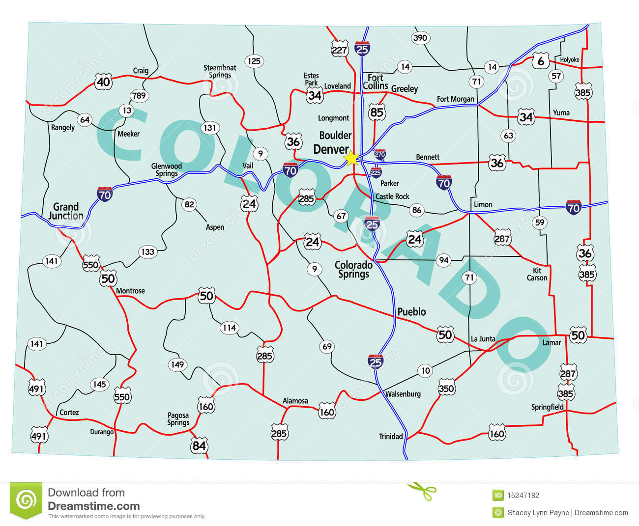 Colorado State Interstate Map Stock Vector Illustration Of Pueblo - Us-map-showing-interstates