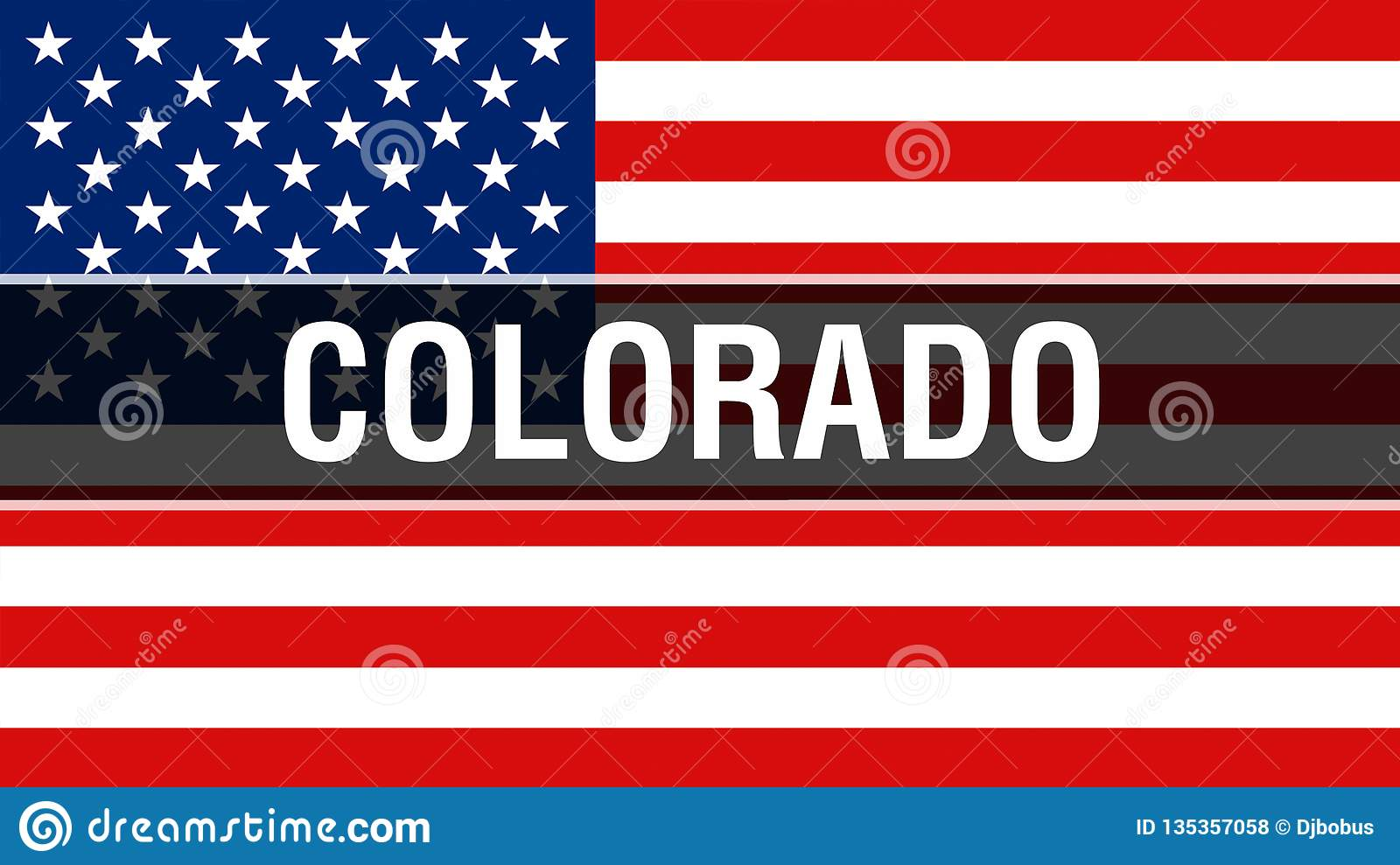 Colorado state on a USA flag background, 3D rendering. United States of America flag waving in the wind. Proud American Flag