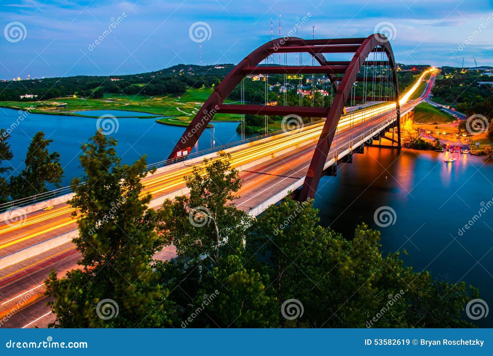 Coloradofloden för sommar för huvudväg för Pennybacker bro 360 färgrik livlig