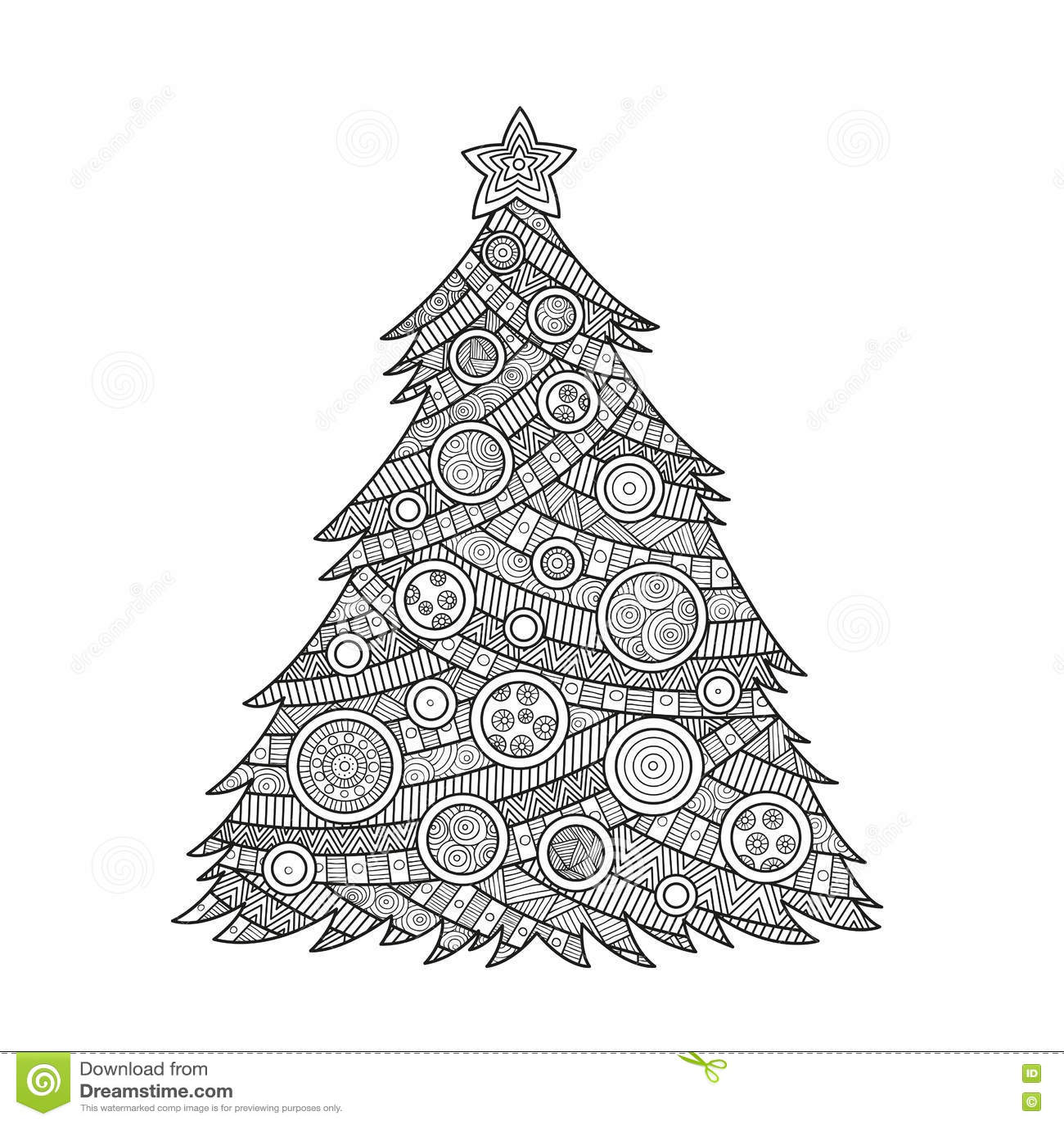 Colorante Para El árbol De Navidad De Los Adultos Ilustración del ...