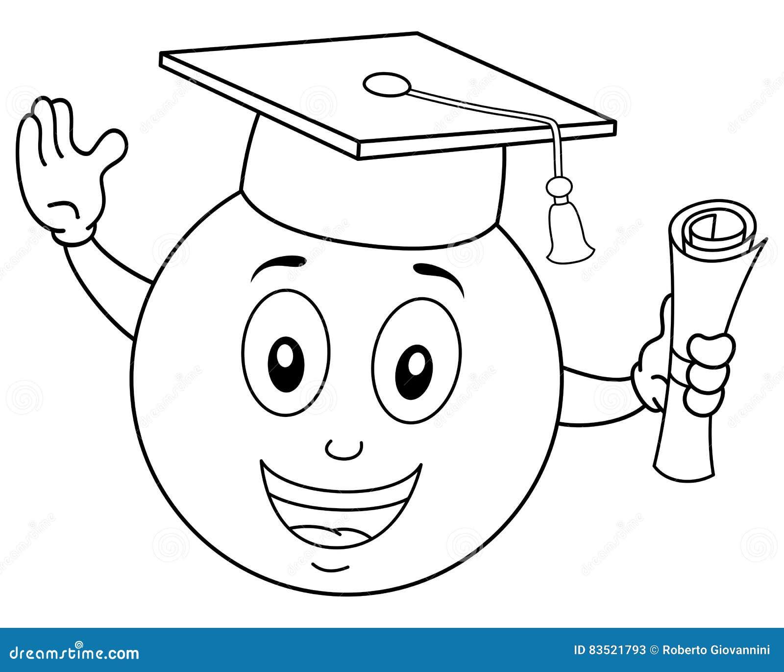 Colorante Smiley Graduation Hat Y Diploma Ilustración del Vector ...