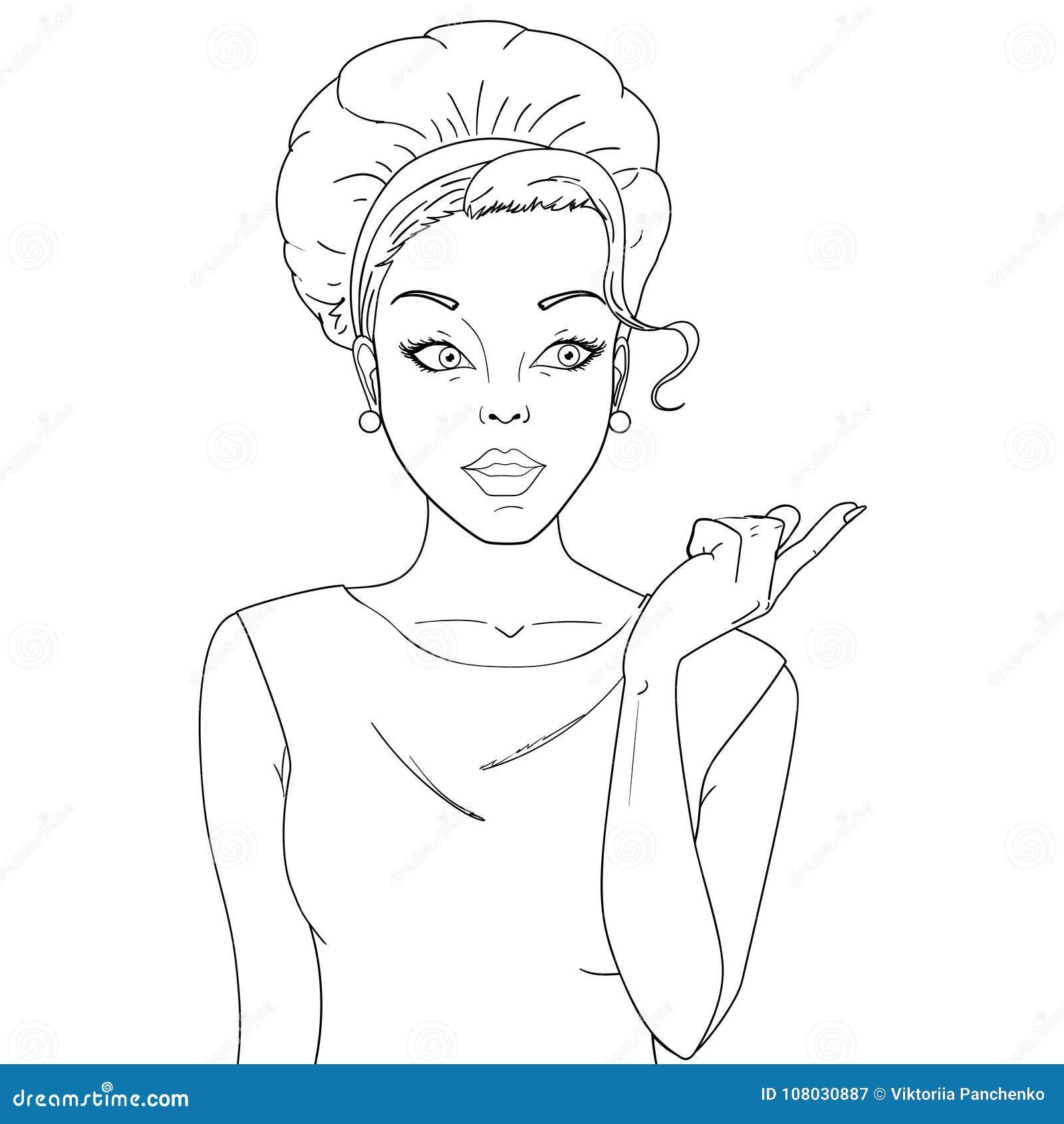 Coloration, noire et blanche Femme comique Femmes stupéfaites Fille d art de bruit beauté
