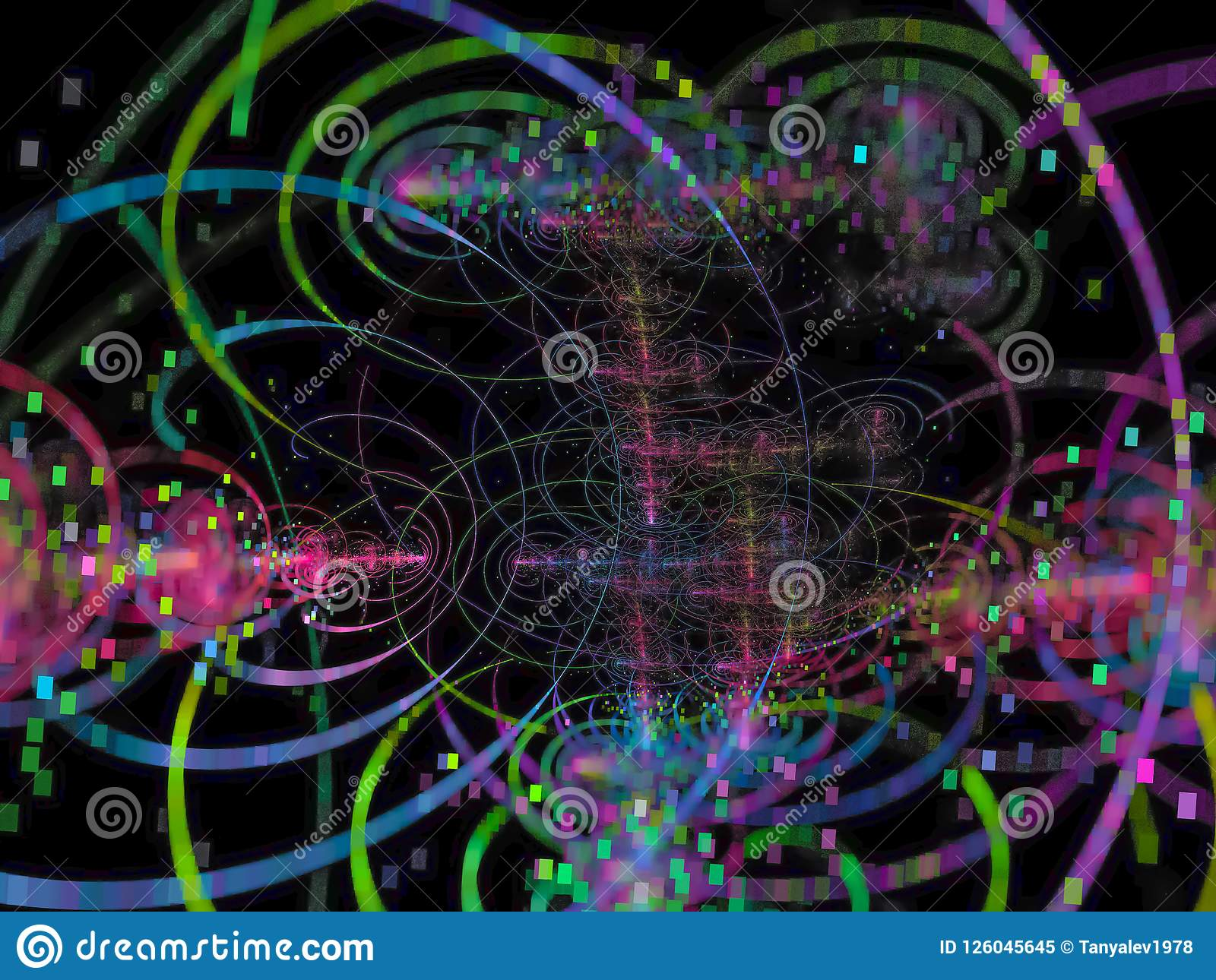 Colore astratto di frattale, fondo digitale generato, progettazione creativa, caos della discoteca