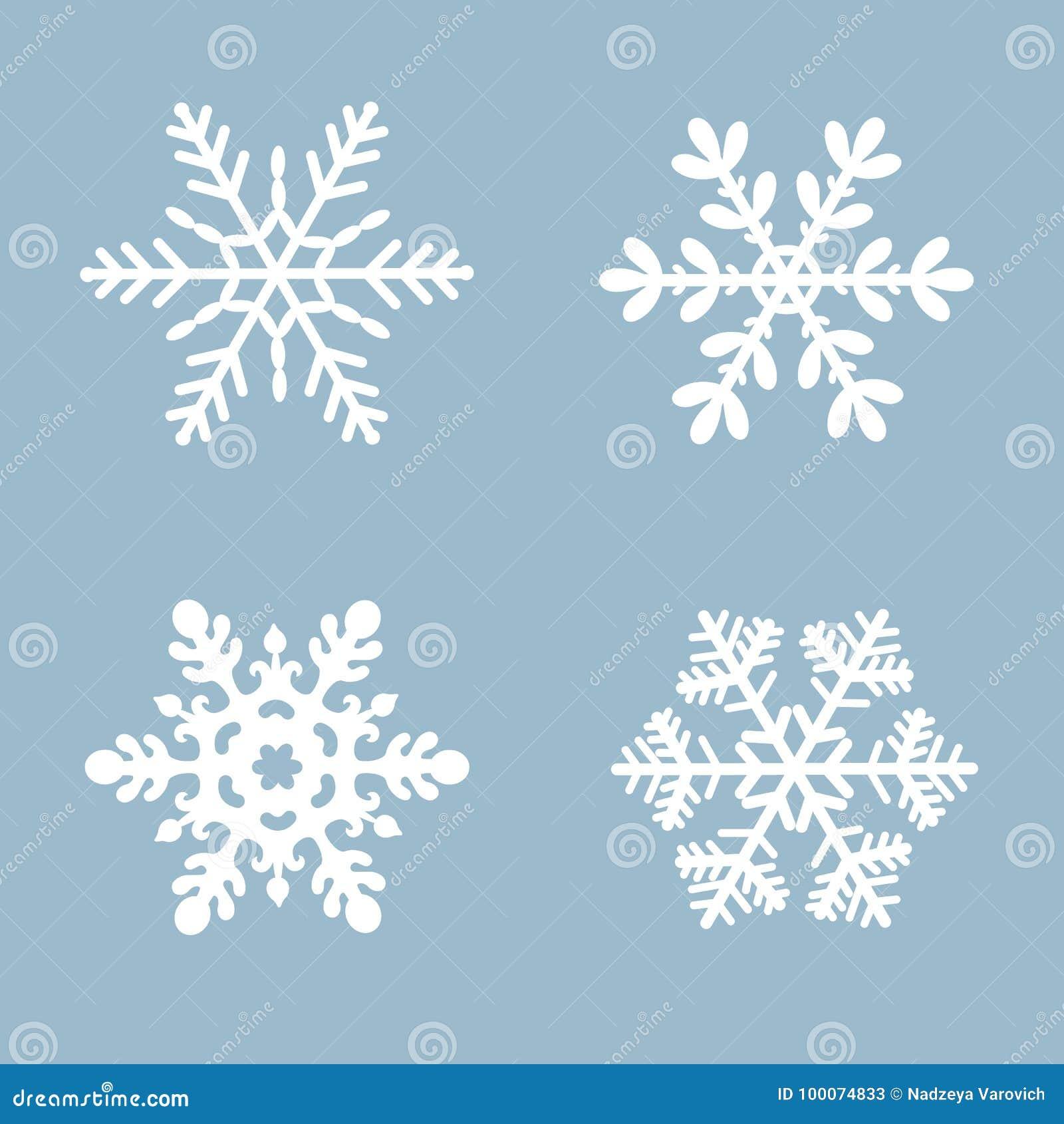 Colore bianco stabilito del fondo dell icona di vettore del fiocco di neve Elemento di cristallo piano della neve blu di natale d