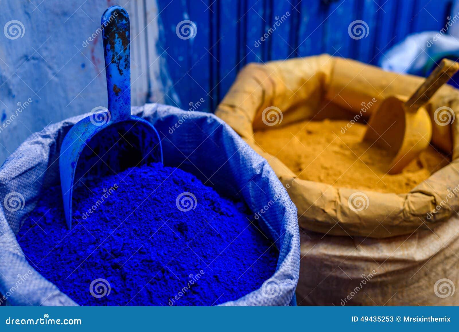 Colore Blu In Polvere Chefchaouen Marocco Immagine Stock
