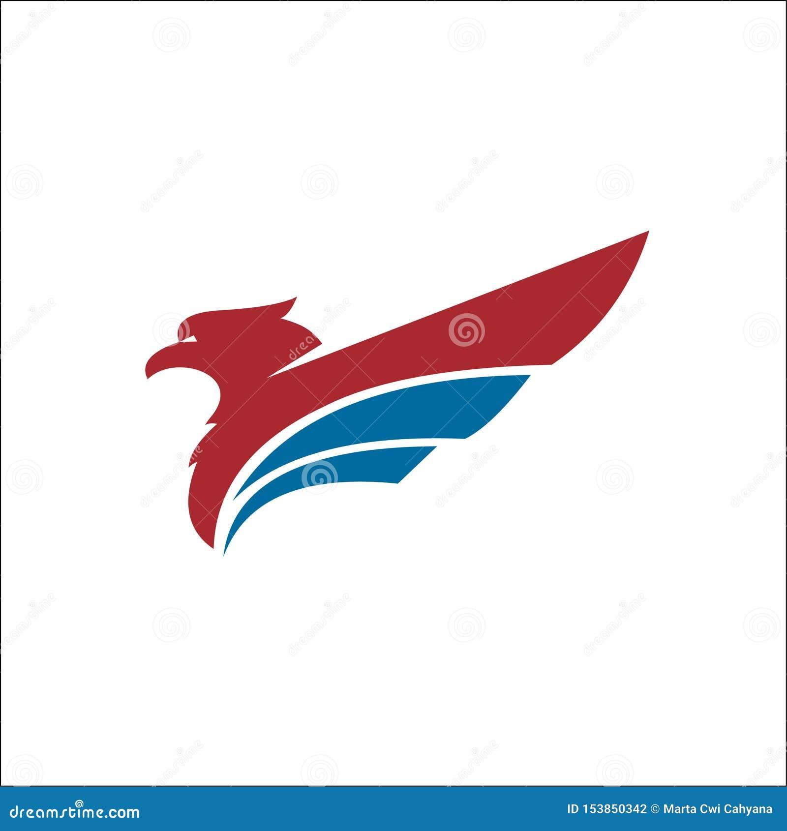 Colore blu rosso di vettore di logo degli animali di Eagle