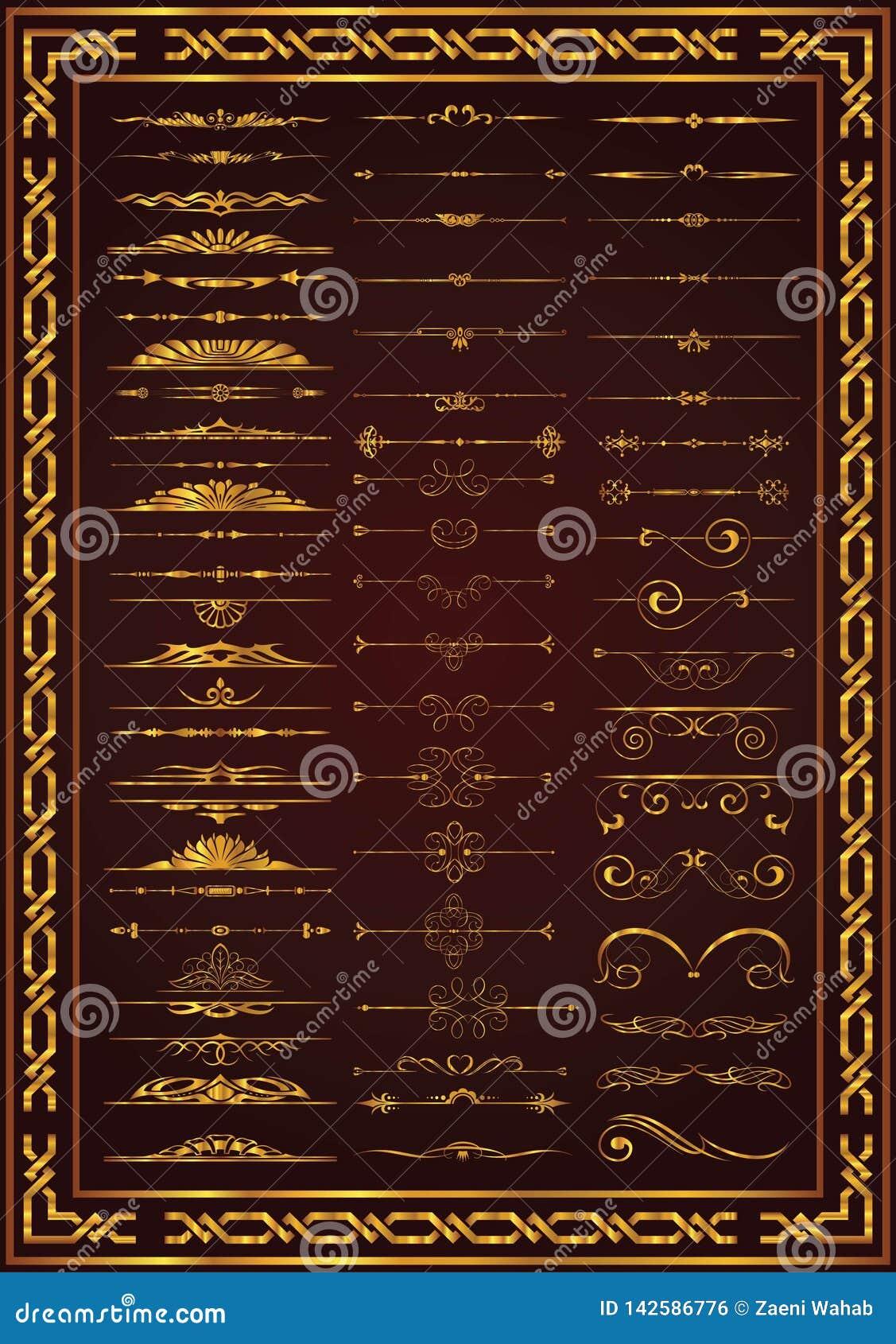Colore calligrafico dell oro degli elementi della decorazione dell insieme piacevole