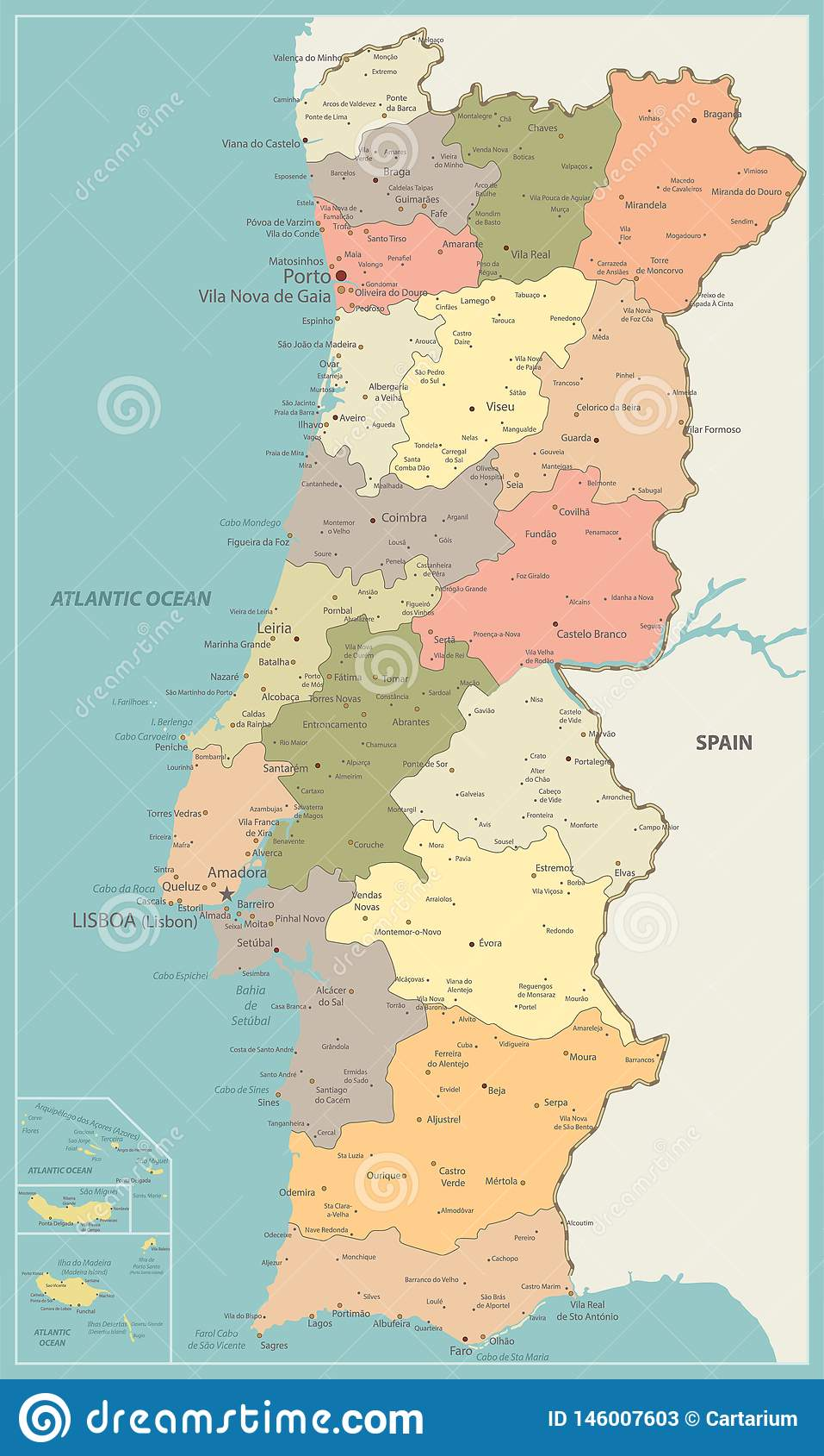 Portogallo Cartina Geografica Politica.Colore D Annata Della Mappa Politica Del Portogallo Illustrazione Vettoriale Illustrazione Di Paese Europa 146007603