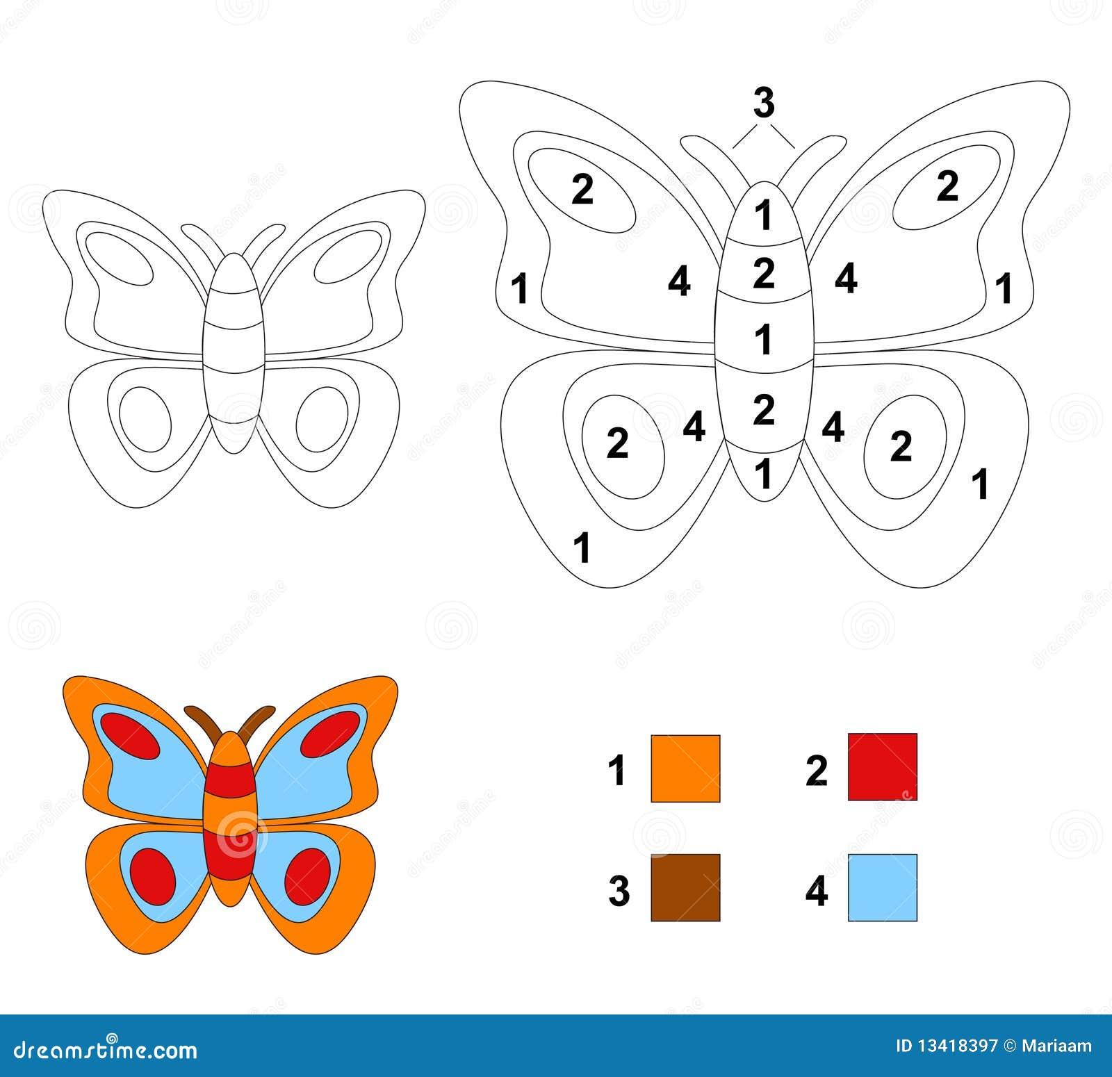 Colore dal gioco di numero: La farfalla