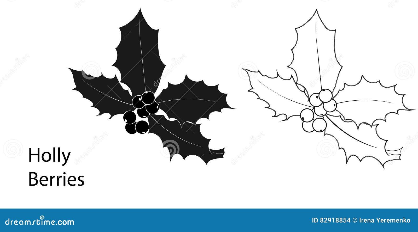 Immagini Natale In Bianco E Nero.Colore Dell Icona Delle Bacche Dell Agrifoglio Di Natale In
