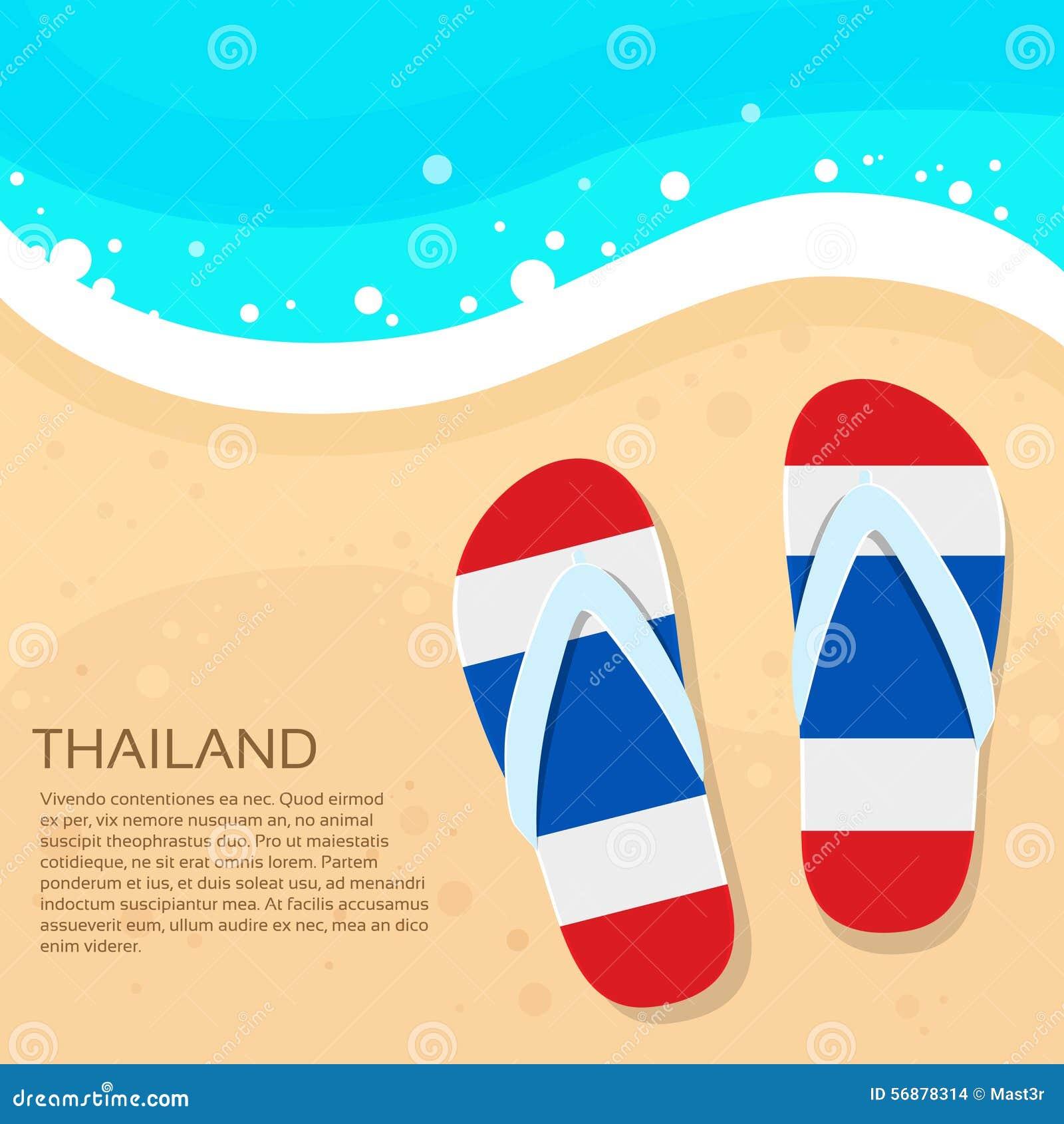 Colore della bandiera della sabbia della spiaggia di estate di flip-flop della Tailandia