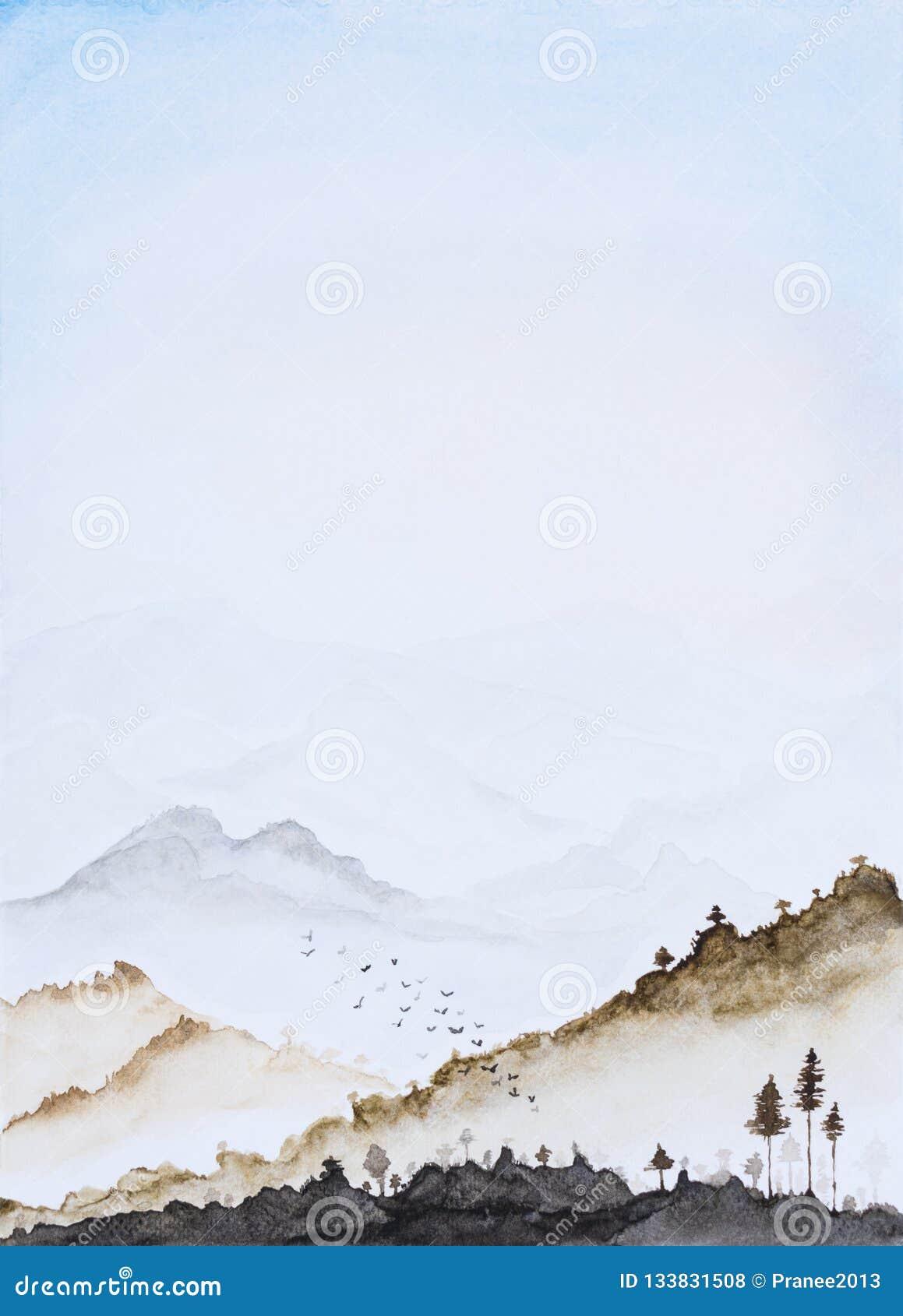Colore di acqua dell immagine, tiraggio della mano, fondo verticale del paesaggio