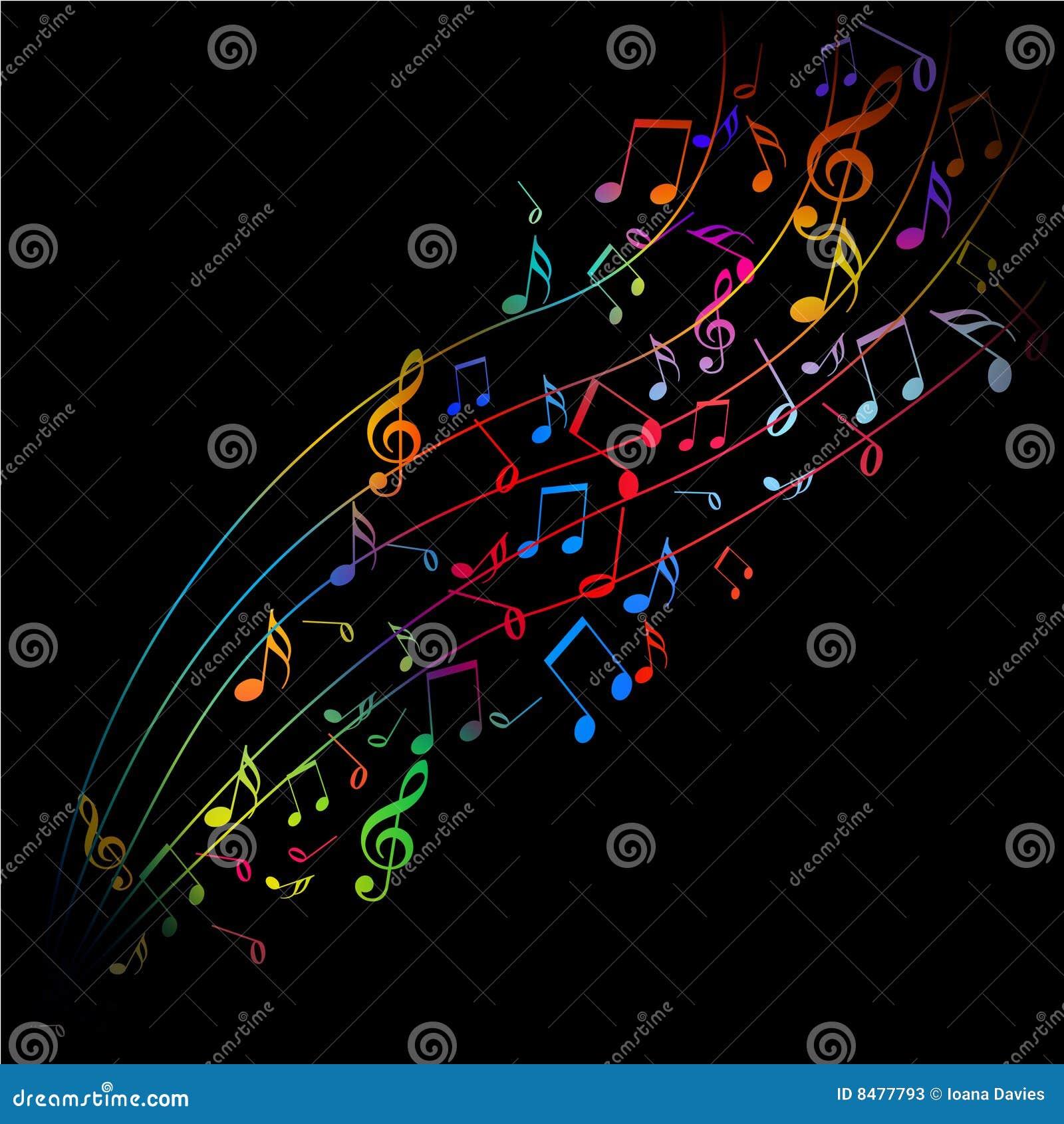 Vettore - note musicali variopinte che emergono su una priorità bassa ...