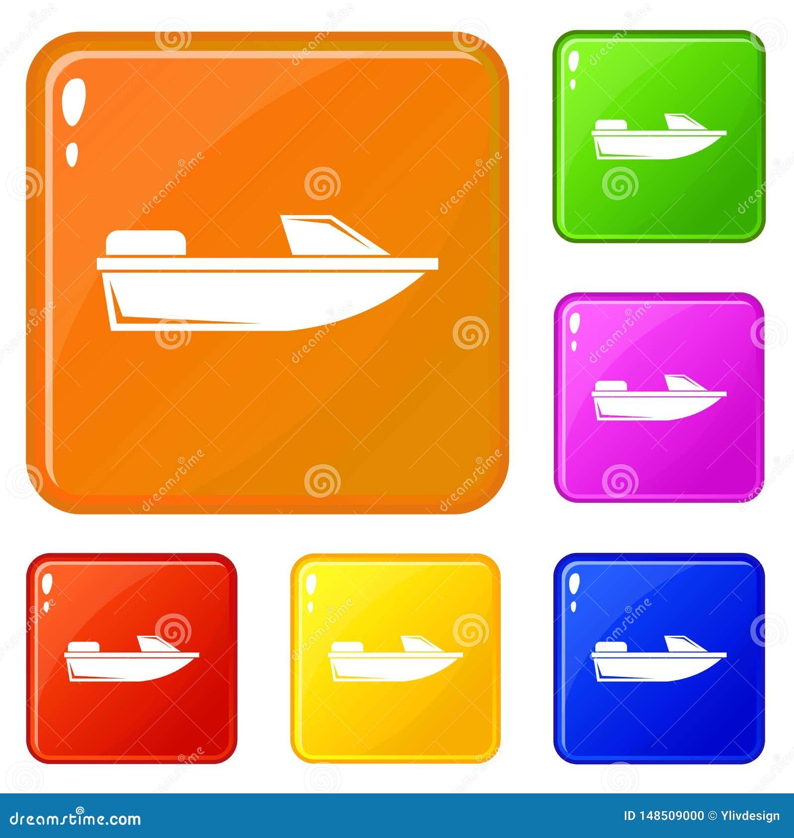 Colore di vettore dell insieme delle icone di fuoribordo di sport