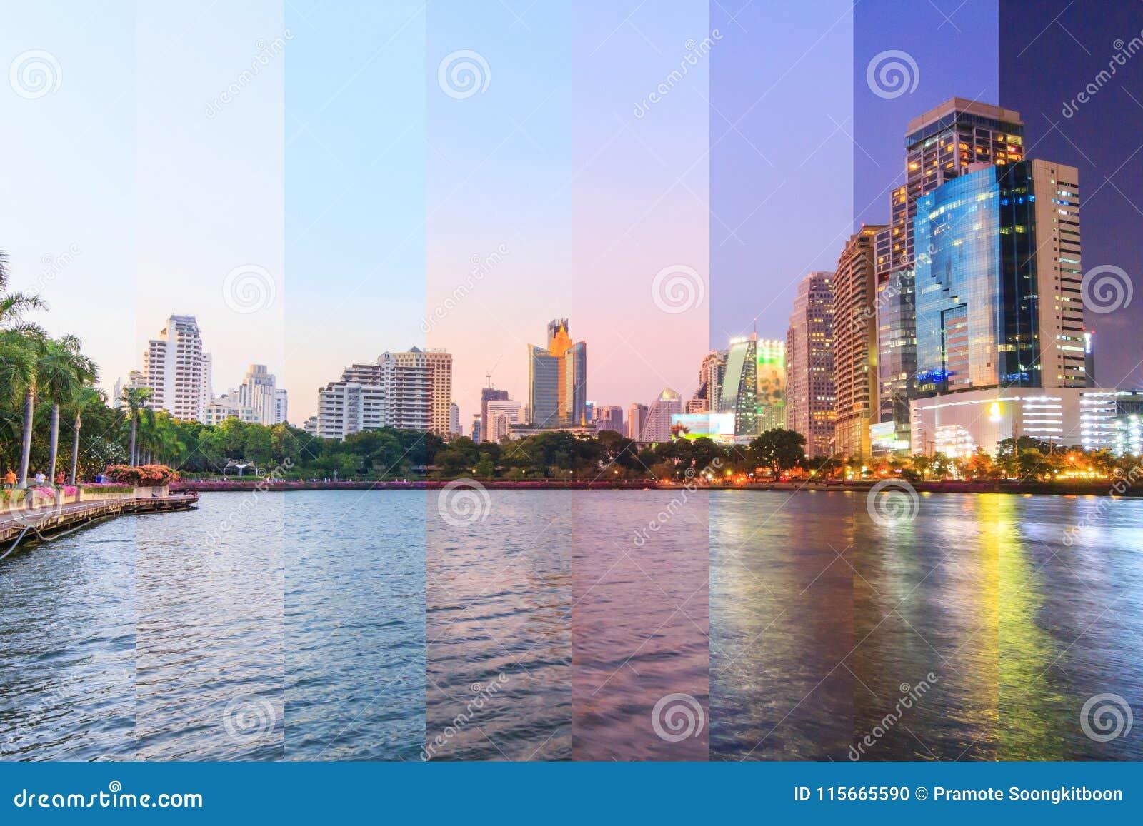 Colore differente dell ombra della vista del lago con le riflessioni della città/su di costruzione nella vista del lago della cit