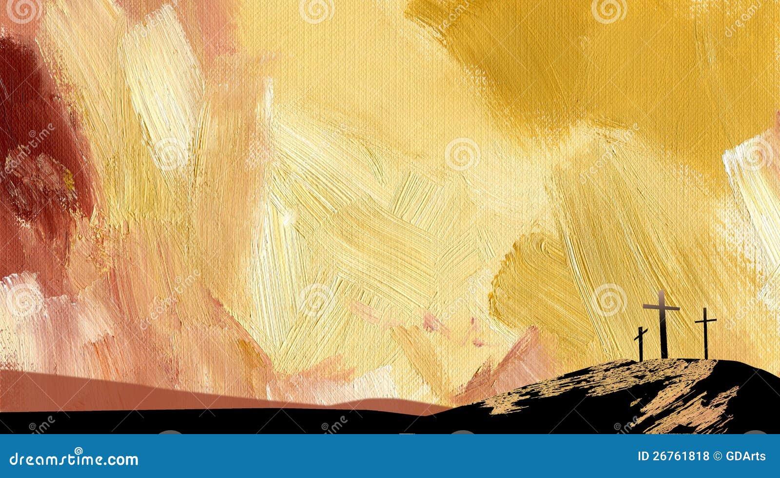 Colore giallo astratto grafico della traversa di Calvary della priorità bassa