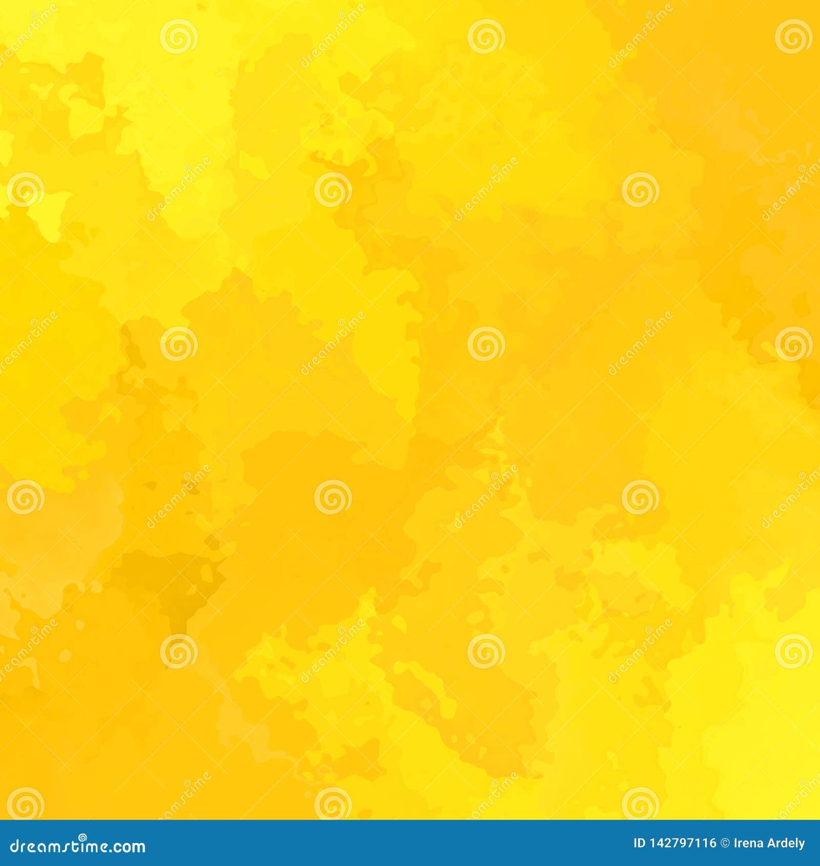 Colore giallo soleggiato del fondo quadrato macchiato estratto - arte moderna della pittura - effetto dello splotch dell acquerel
