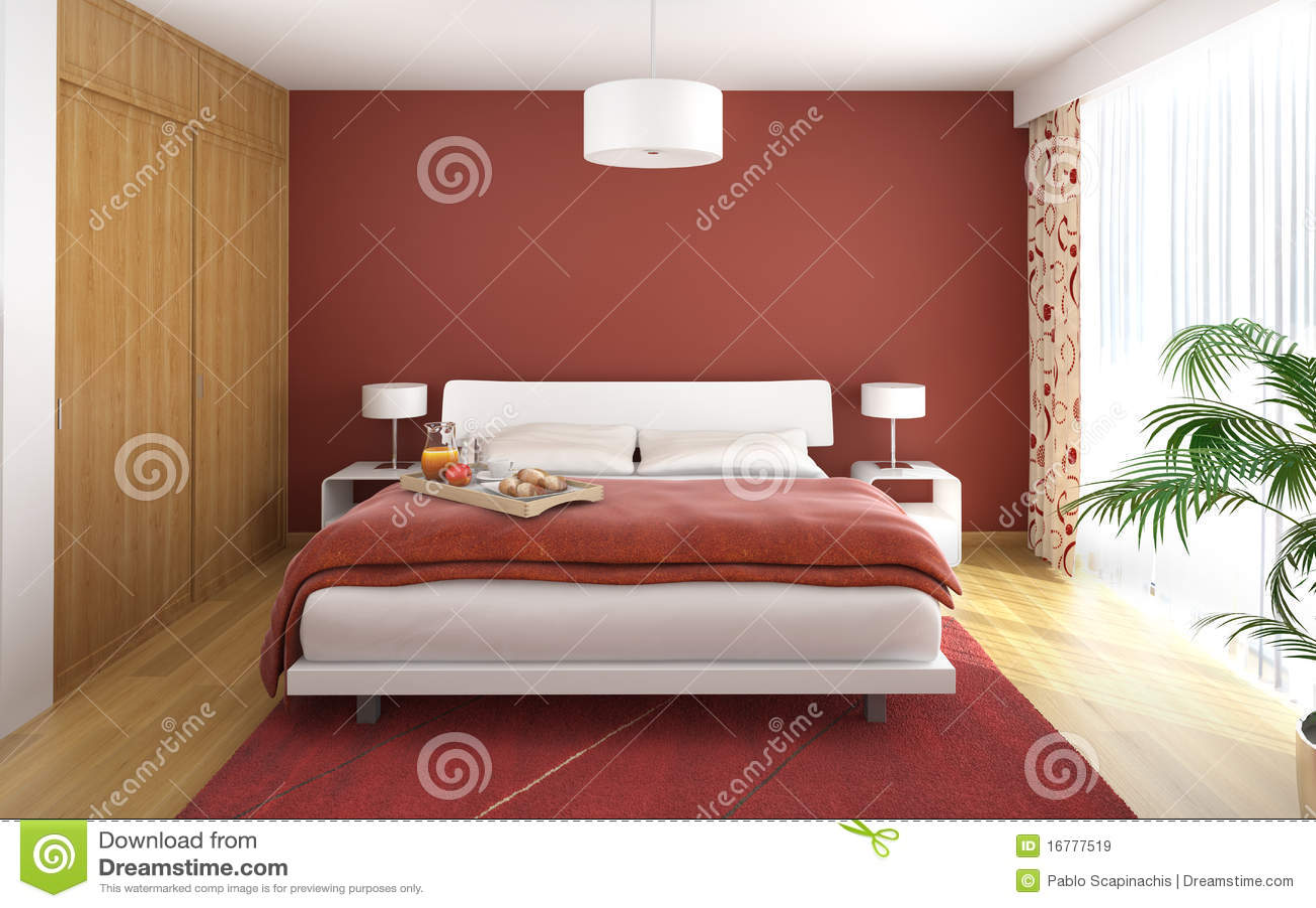 Colore rosso della camera da letto di disegno interno - Colore della camera da letto ...