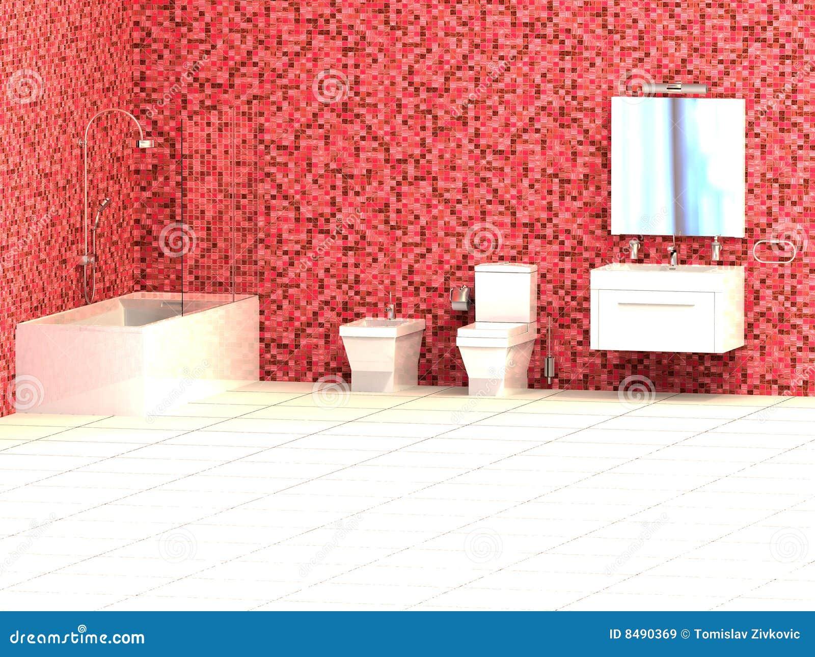 Colore rosso della stanza da bagno immagini stock libere - Bagno mosaico rosso ...