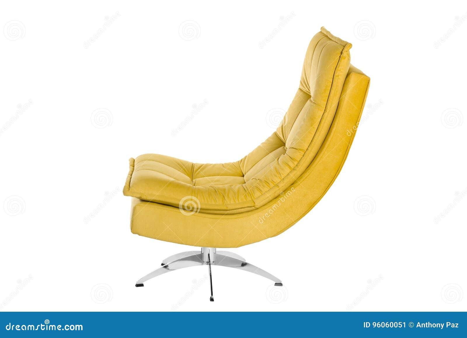 Colore Sofa Armchair giallo isolato su fondo bianco