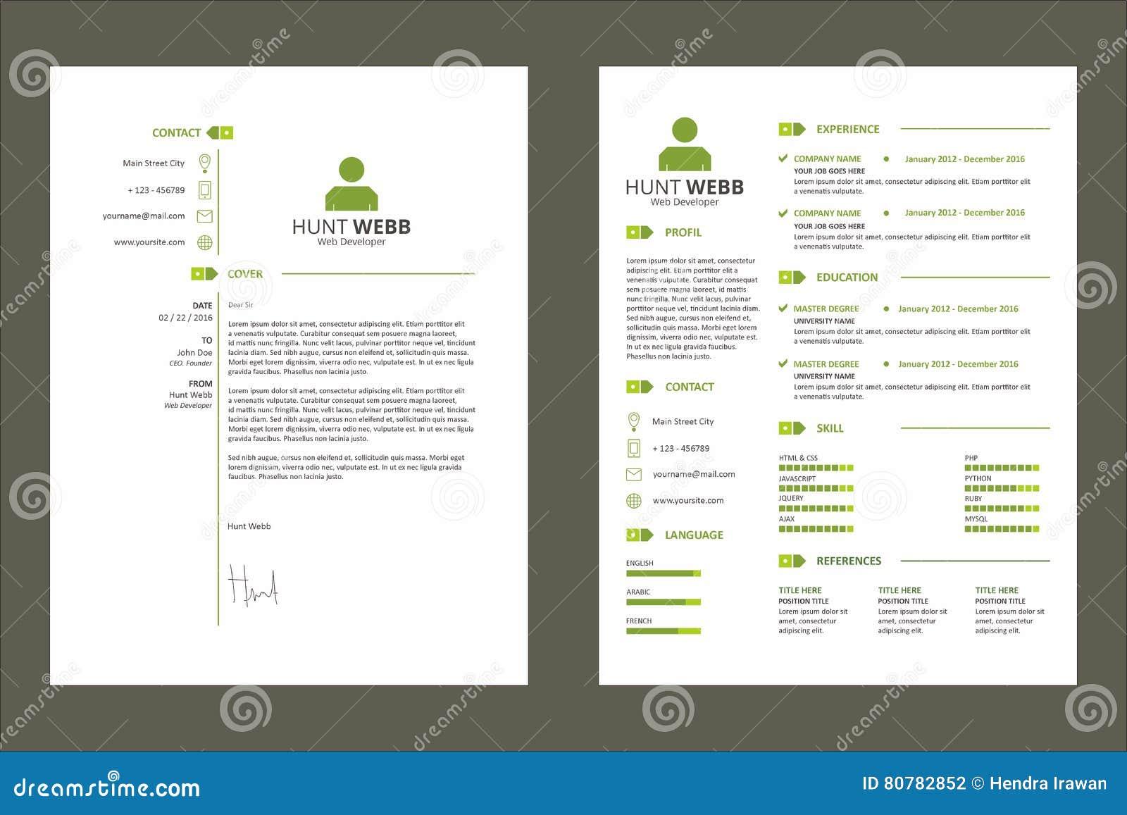 Colore Verde Di Curriculum Vitae Del Riassunto Del Cv Con La Risorsa