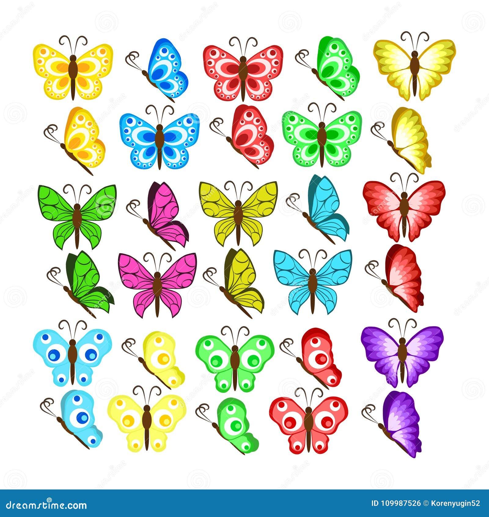 Colorea Mariposas Aisladas En El Fondo Blanco Vector Bonito