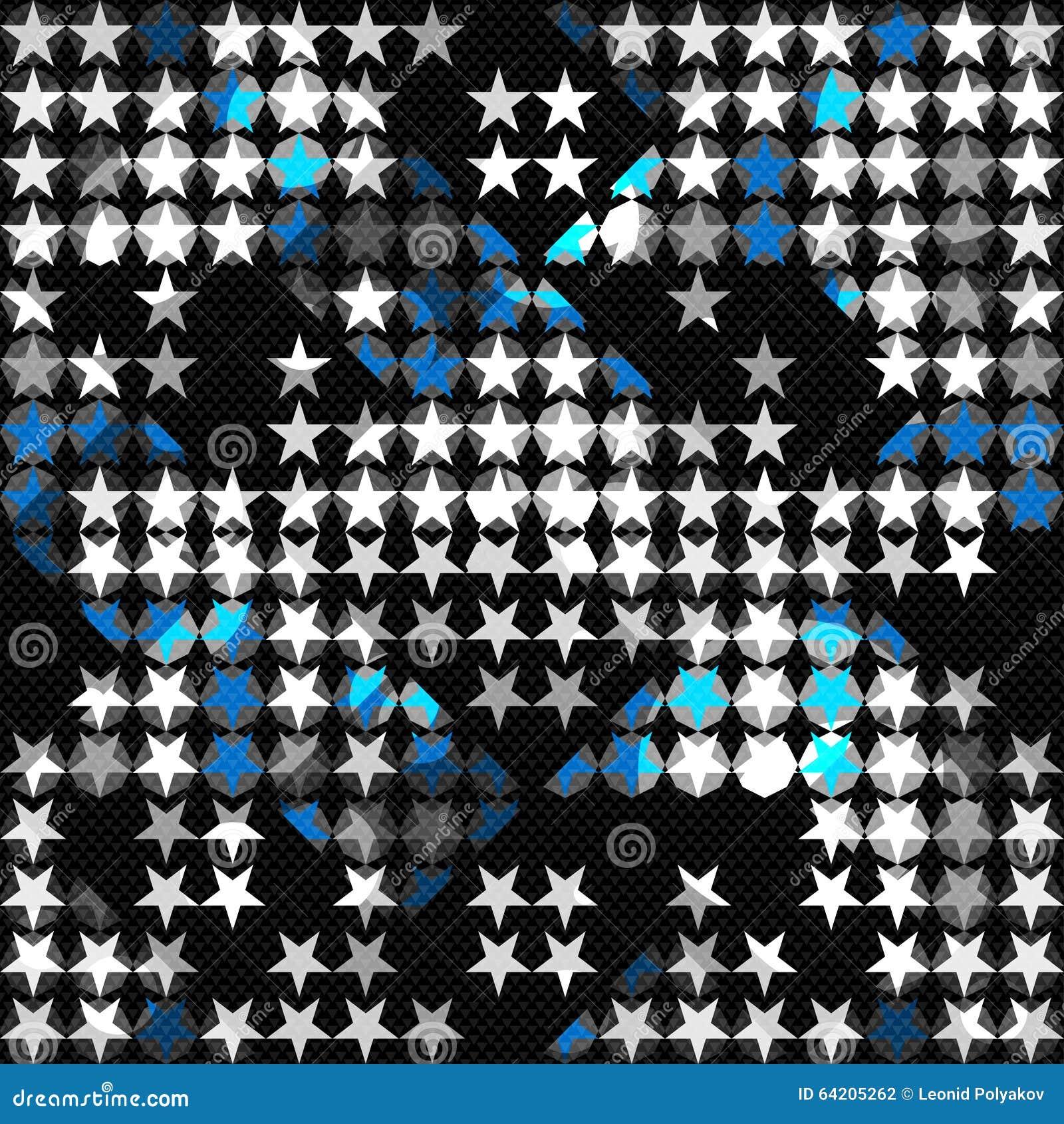 Coloreado pocas estrellas en un fondo geométrico inconsútil del fondo negro