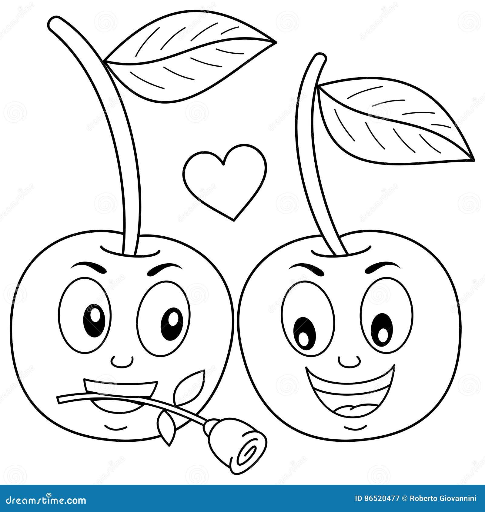 Colorear Dos Cerezas Lindas De La Historieta En Amor Ilustración del ...