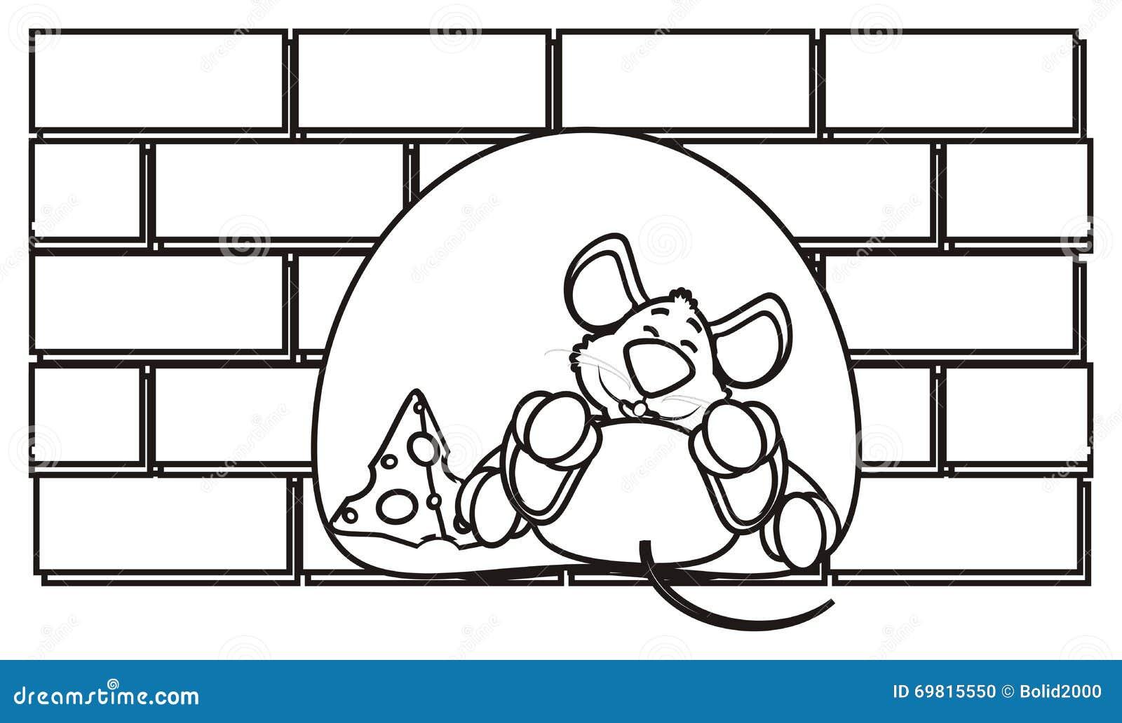 Colorear El Ratón En Un Agujero Stock de ilustración - Ilustración ...