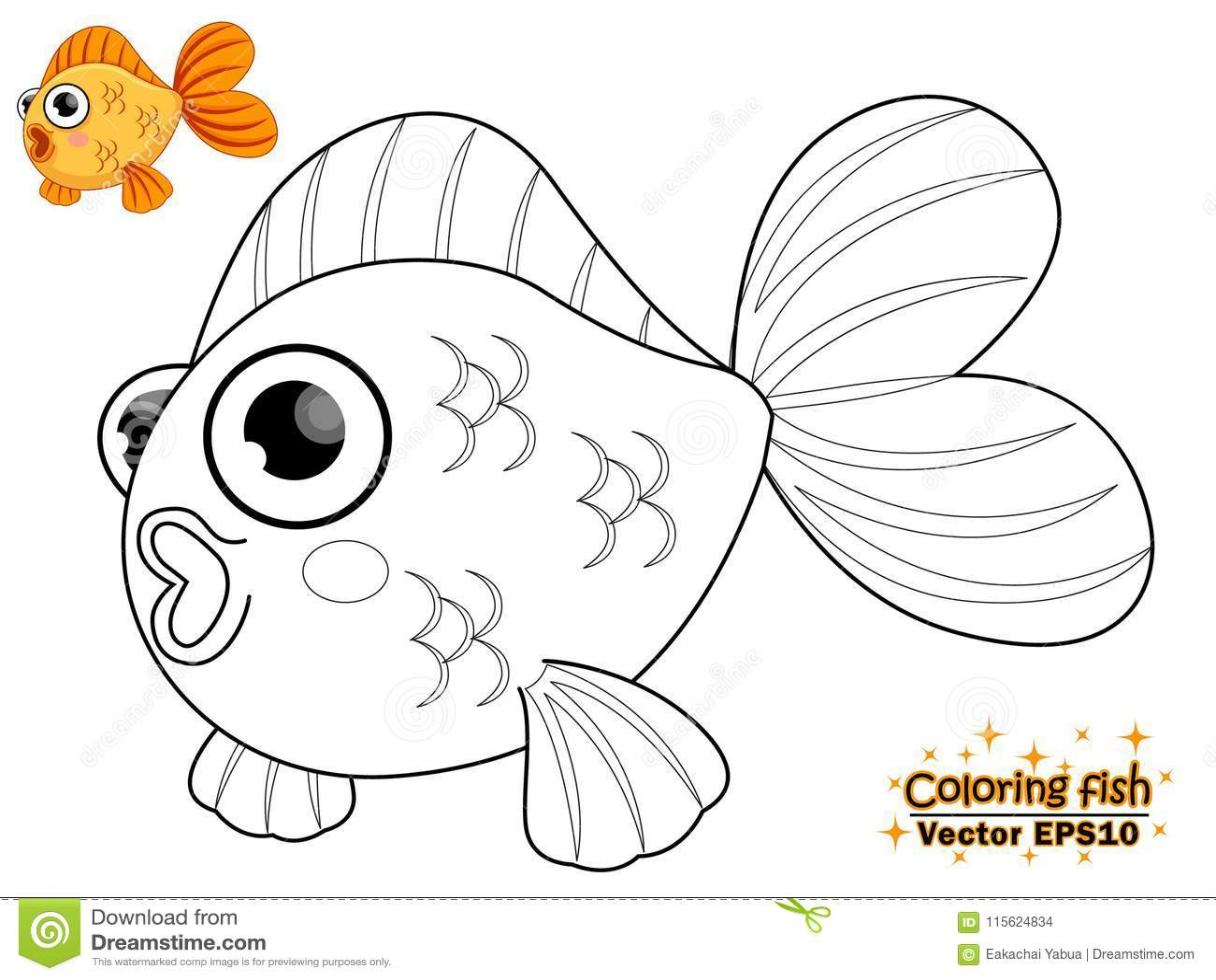 Colorear Los Pescados Lindos De La Historieta Juego Educativo Para