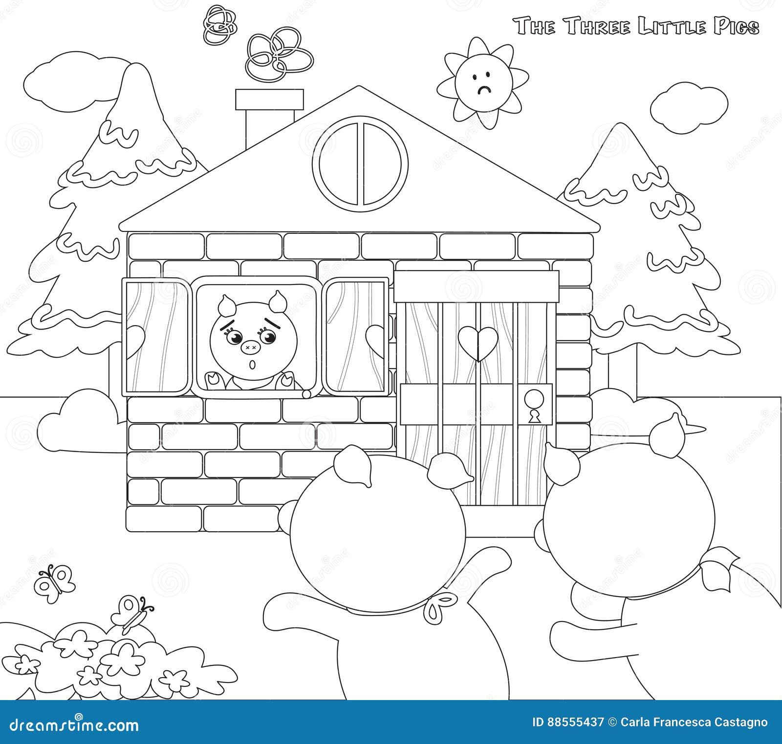 Excepcional Tres Pequeñas Casas De Cerdos Para Colorear Viñeta ...