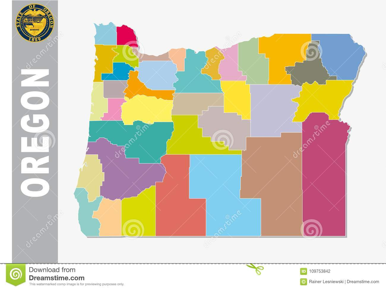 Colored Map Of The Us.Colored Administrative And Political Vector Map Of Us Federal State
