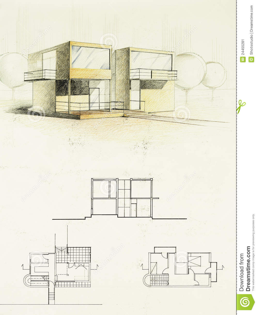 Colored Architectural Sketch Of A Modern House