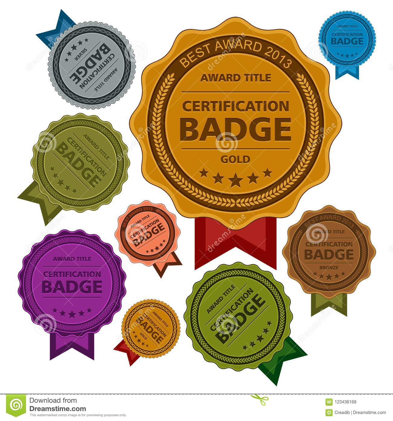 Colored Awards Badges, Certification Badges Template Design Stock ...