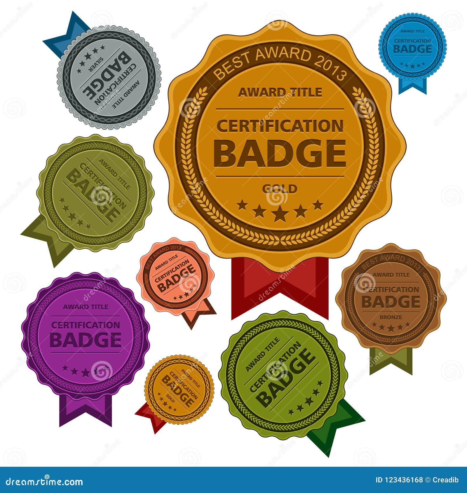Colored Awards Badges Certification Badges Template Design Stock
