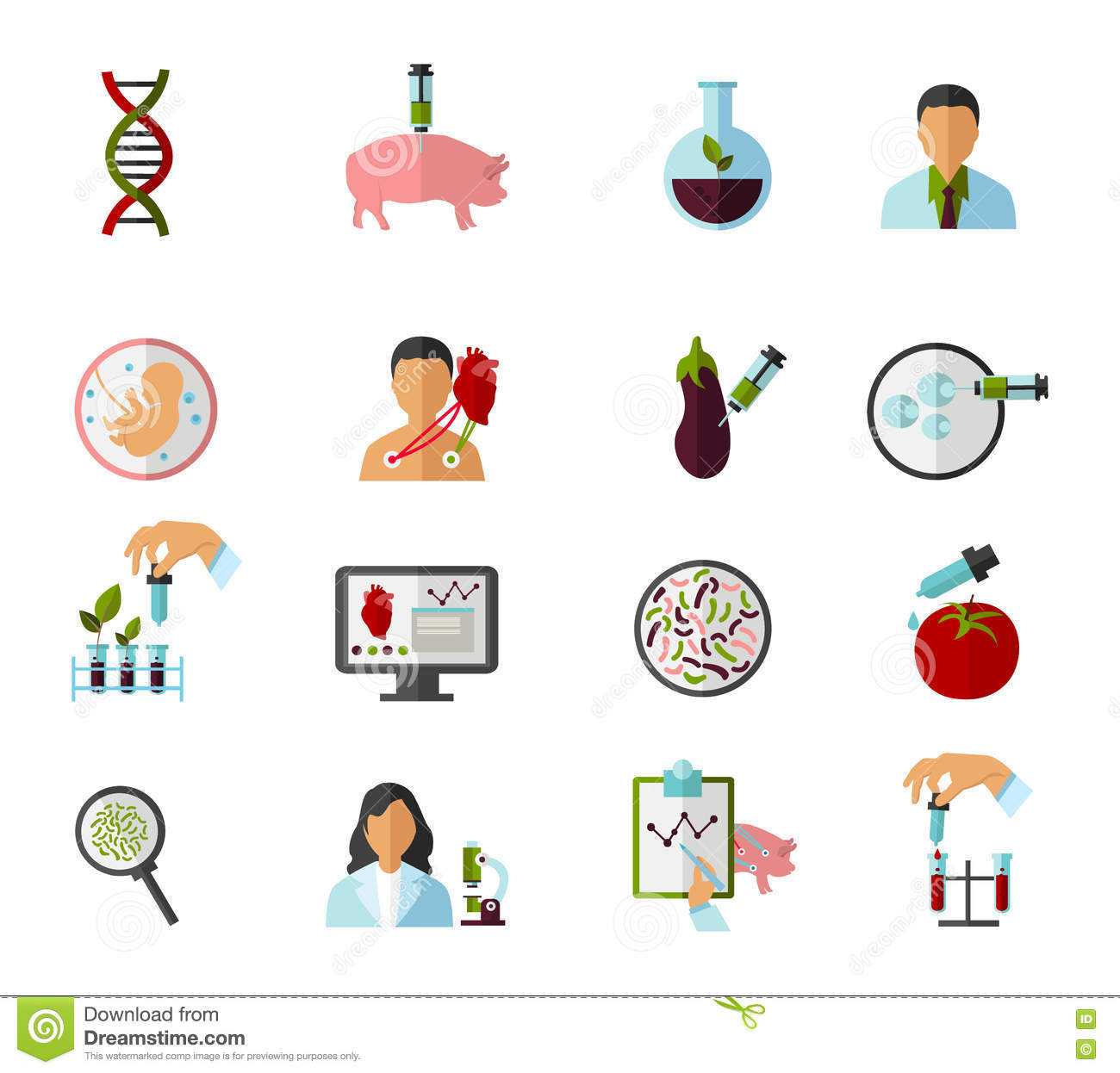 Colored Biotechnology Icon Set Stock Vector - Illustration of