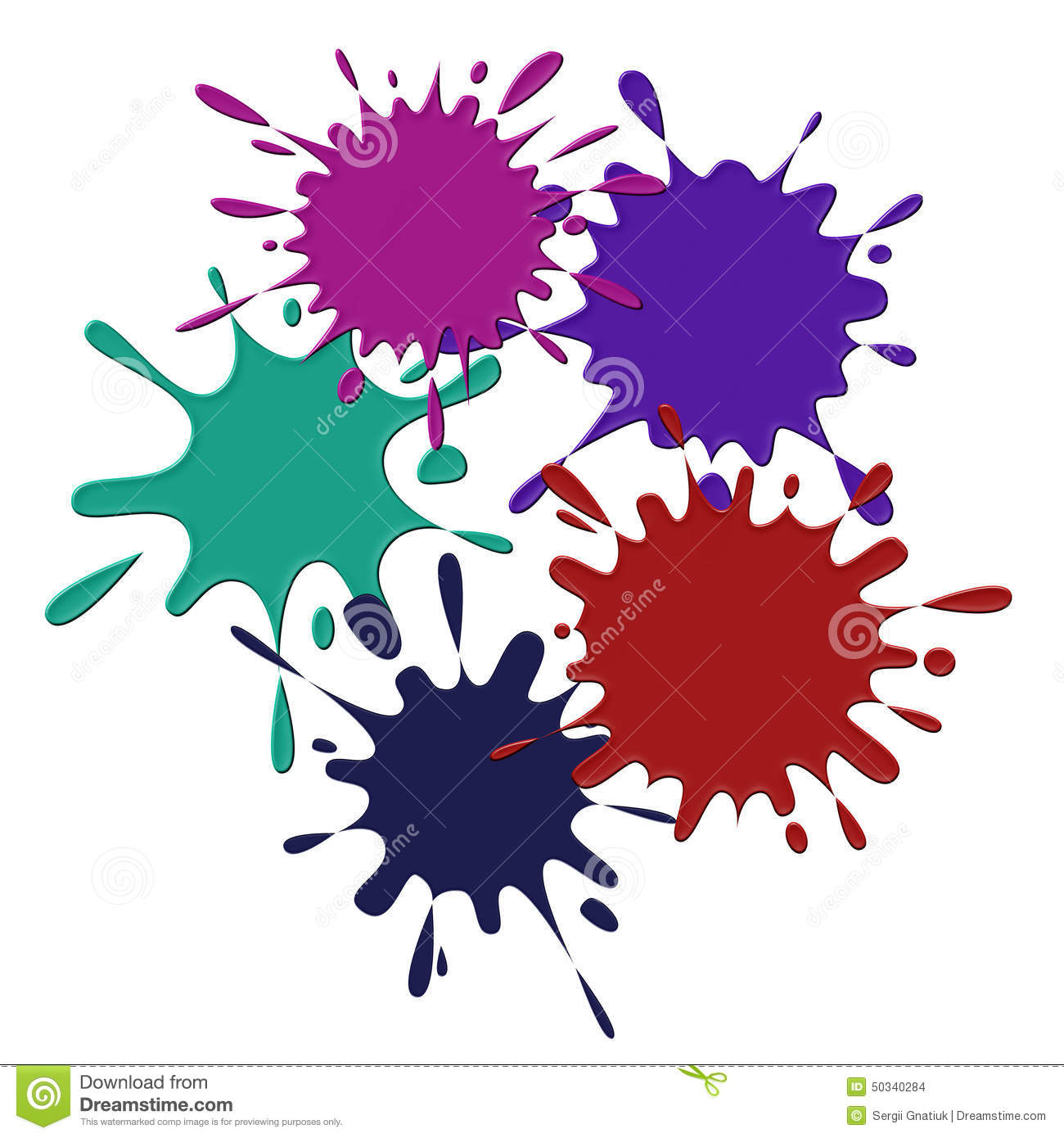 Colored blots on the white background