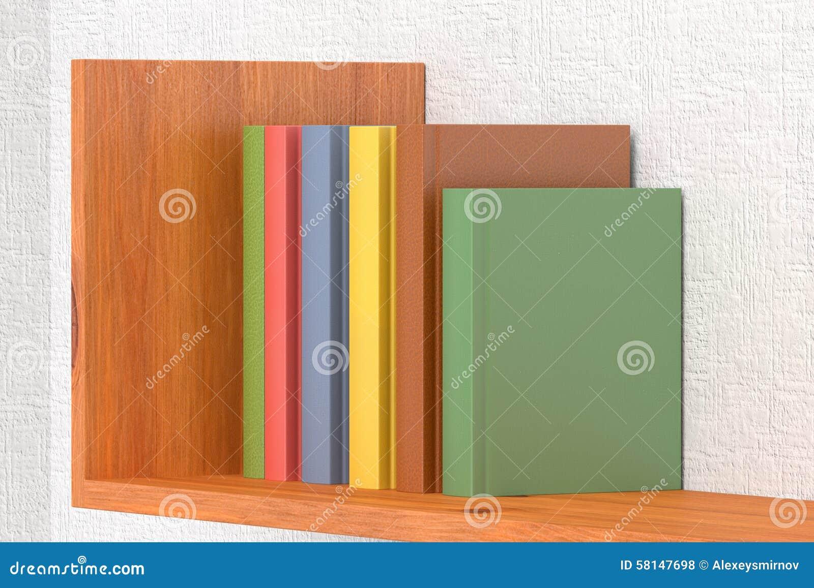 Download Colored Books On Wooden Bookshelf Stock Illustration