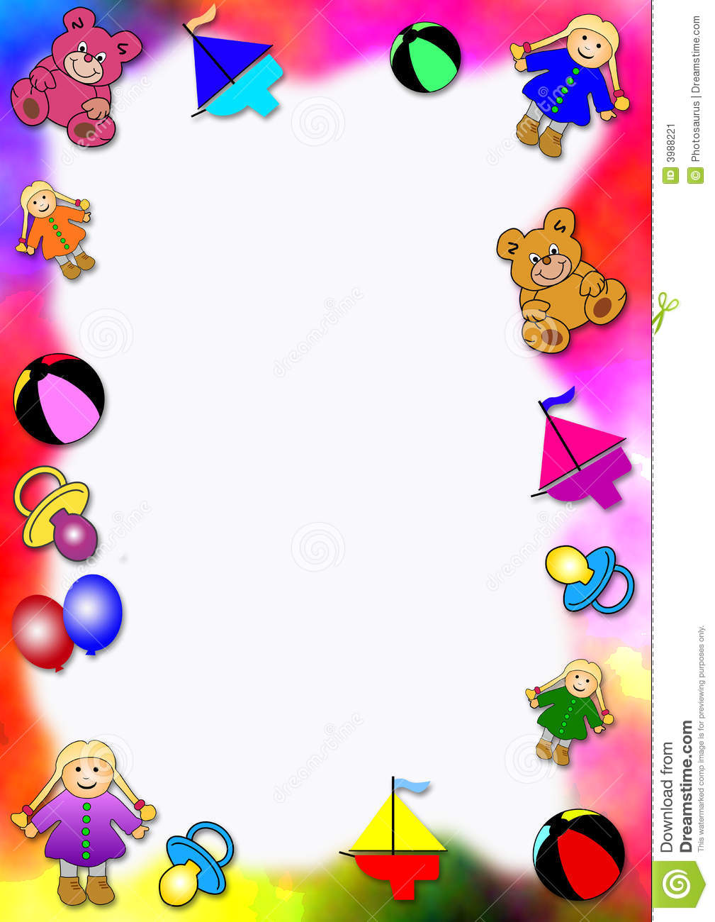 Colored Border Of Baby Toys Stock Illustration Illustration Of