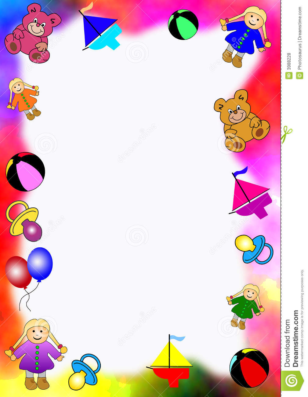 Boy Toys Border : Colored border of baby toys stock illustration