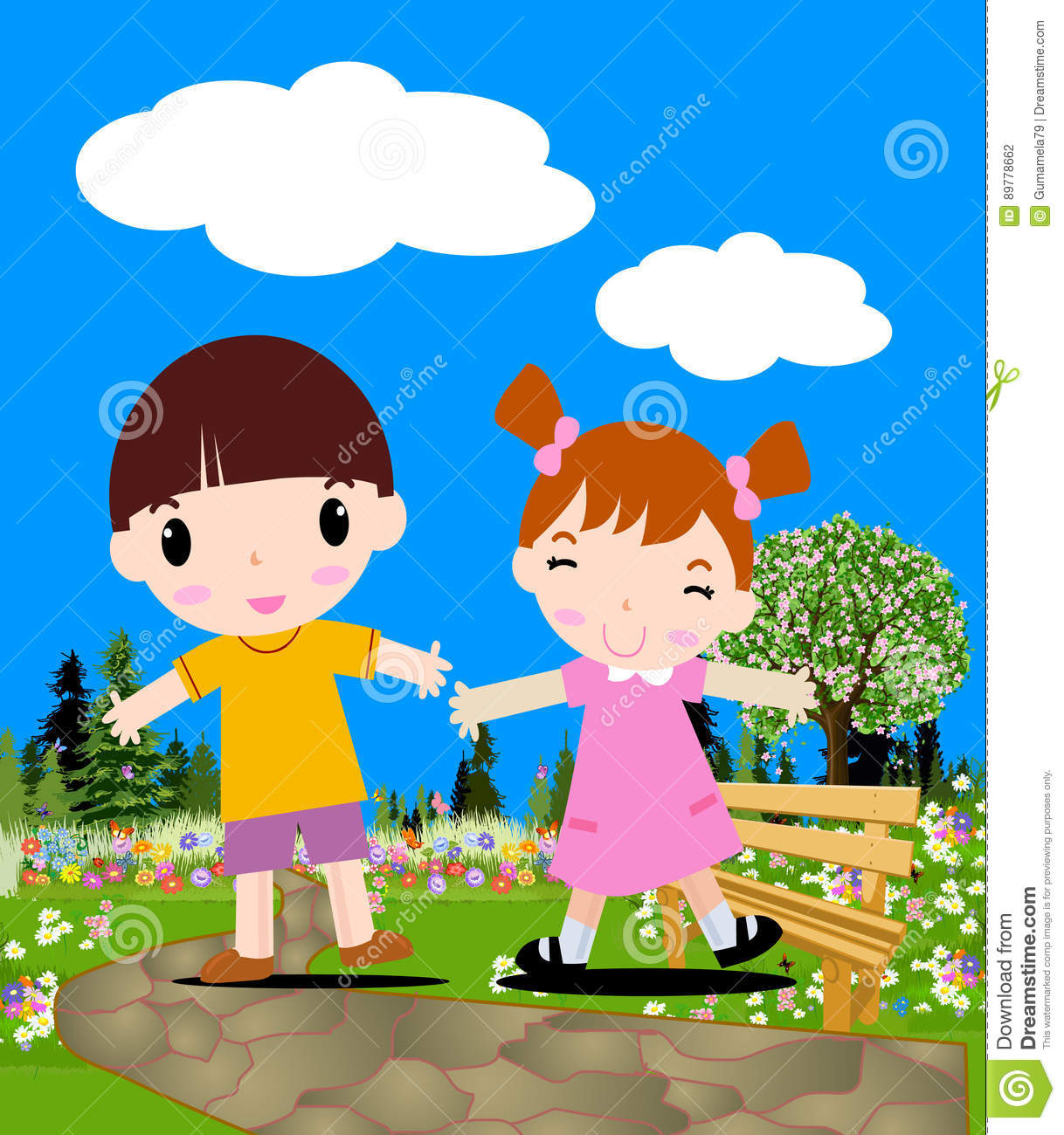 Colored of a boy and girl stock illustration. Illustration of cute ...
