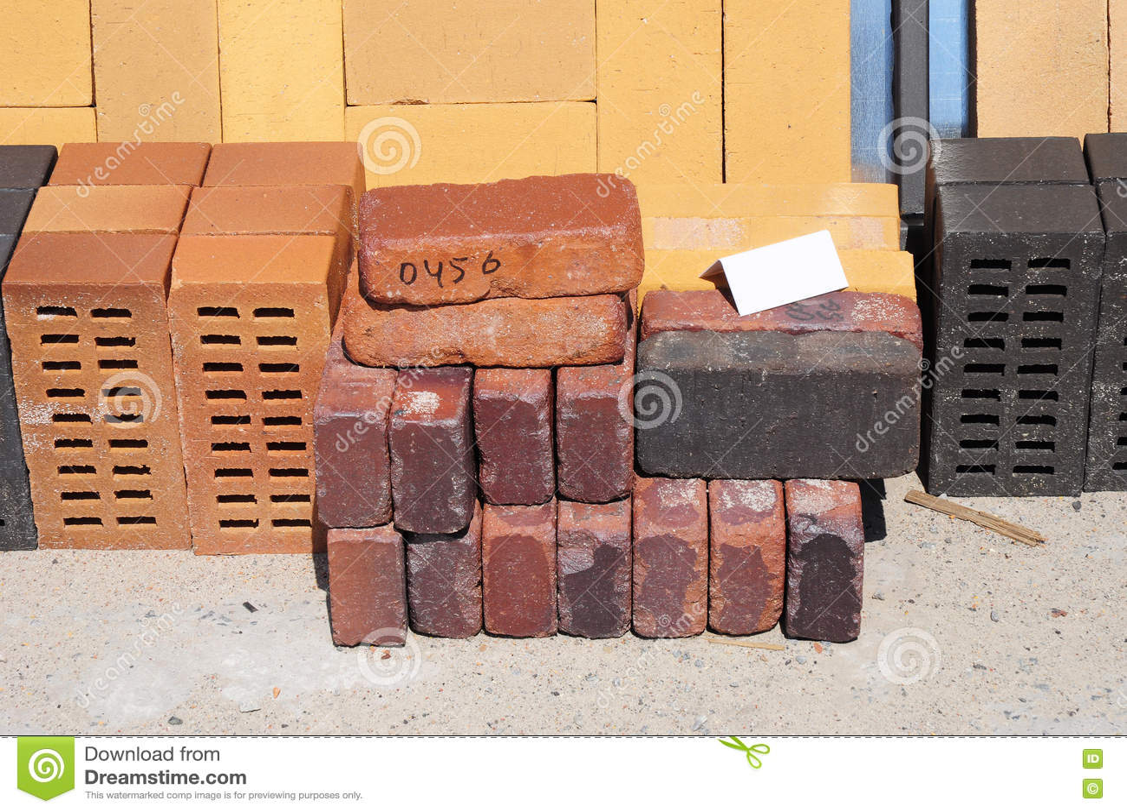 Colored Building Blocks, Bricks And Concrete Pavers (paving Stone) Or Patio  Blocks Organized